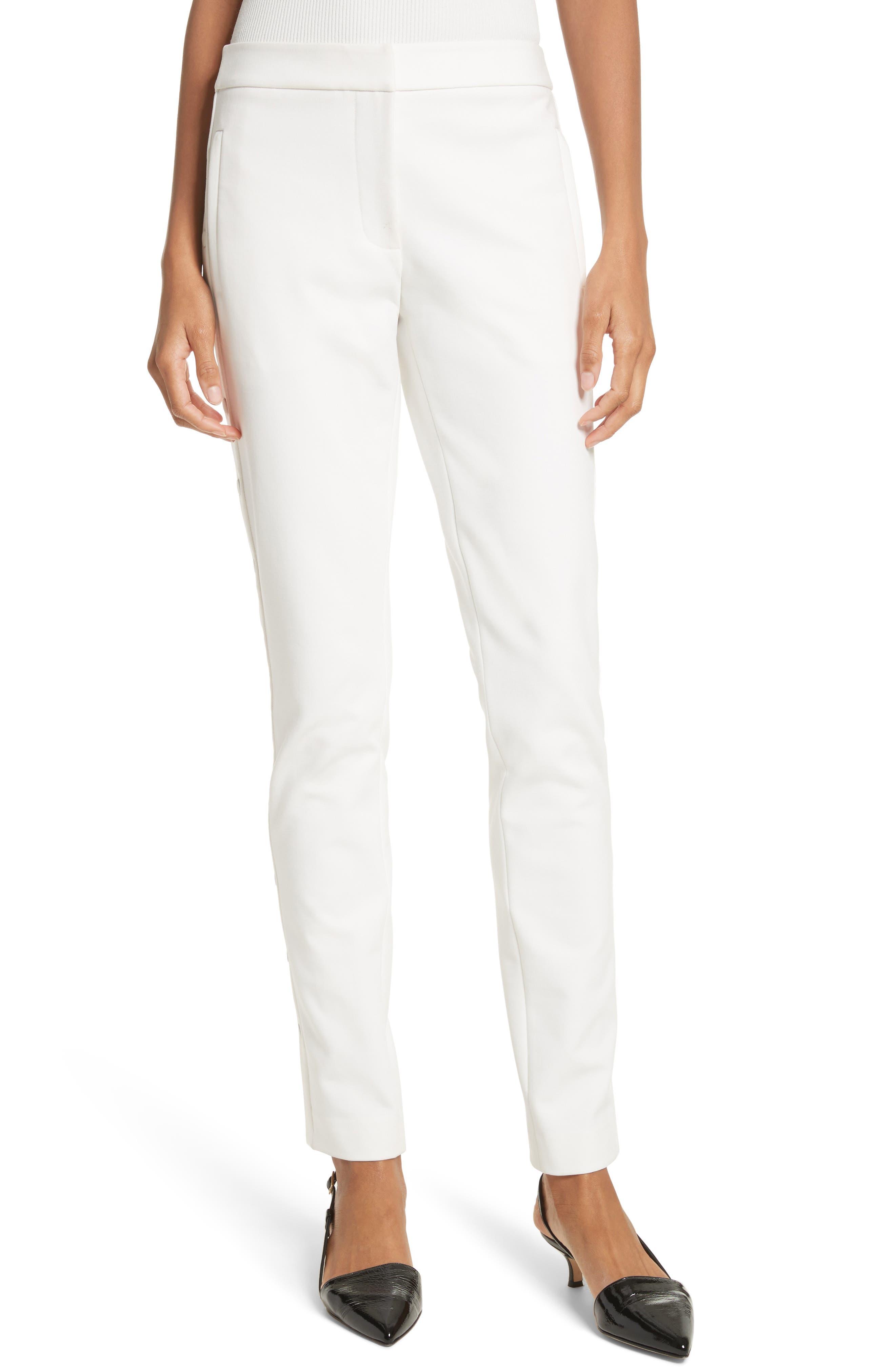 Anson Snap Side Skinny Pants,                             Main thumbnail 1, color,                             Ivory