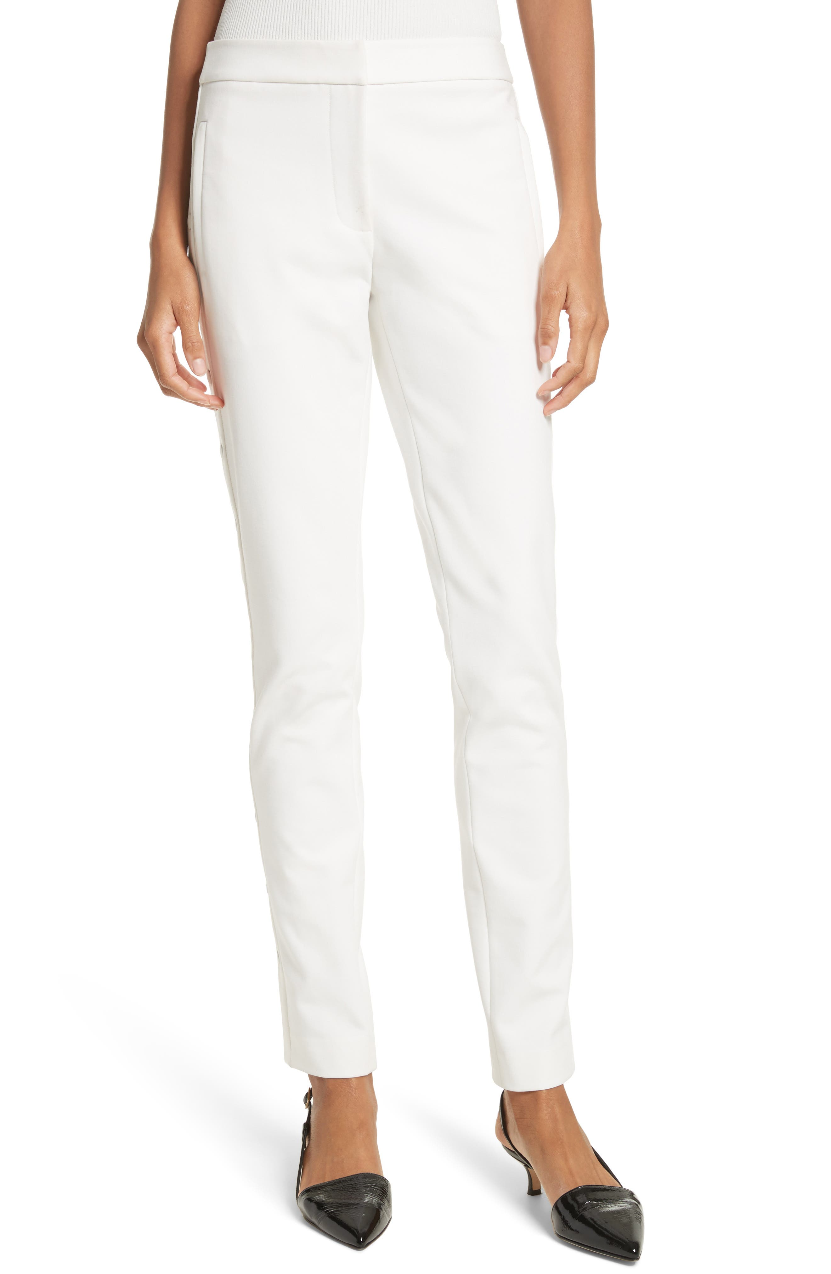 Anson Snap Side Skinny Pants,                         Main,                         color, Ivory