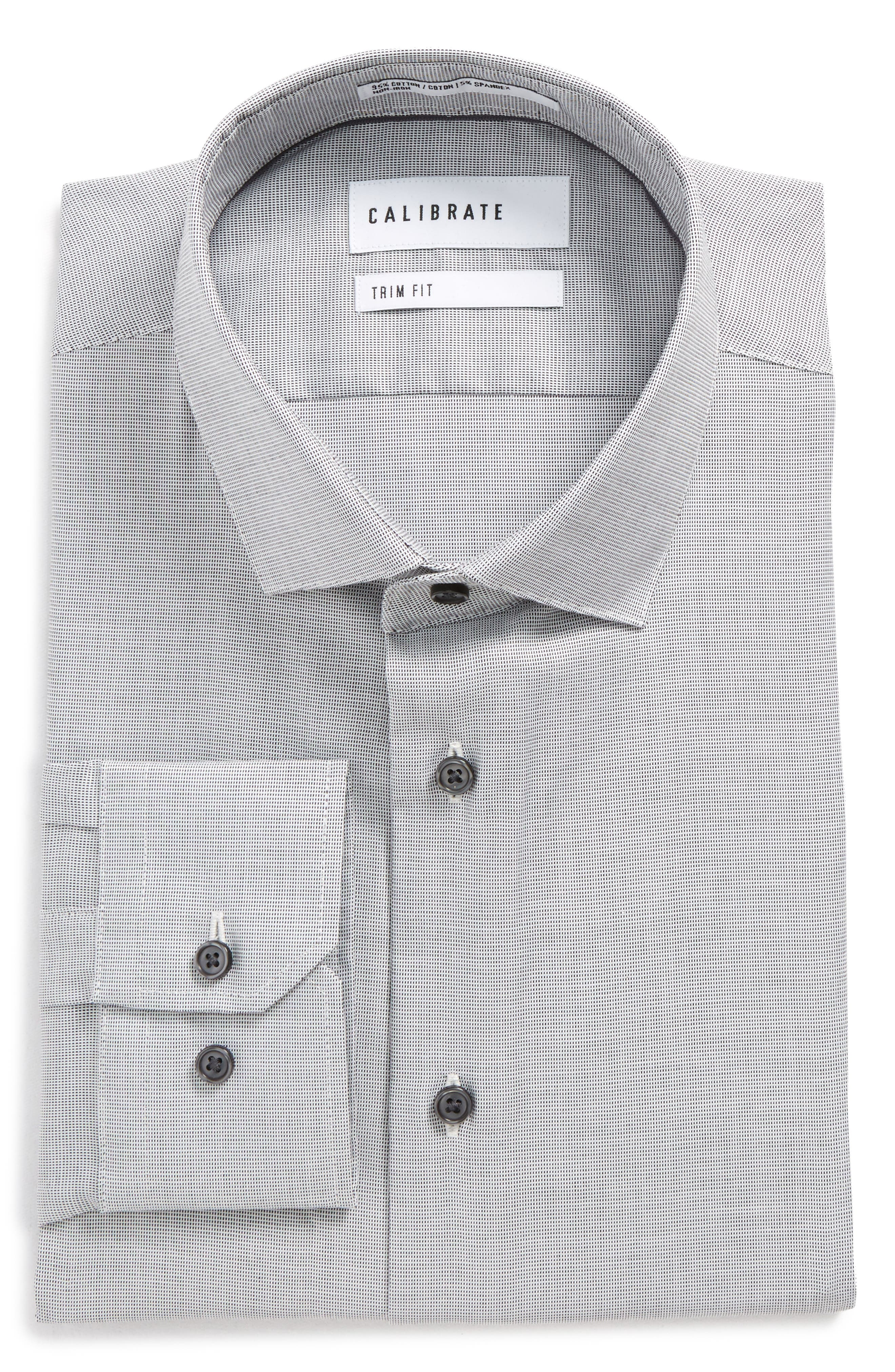 Trim Fit Non-Iron Stretch Solid Dress Shirt,                             Alternate thumbnail 6, color,                             Grey Sconce