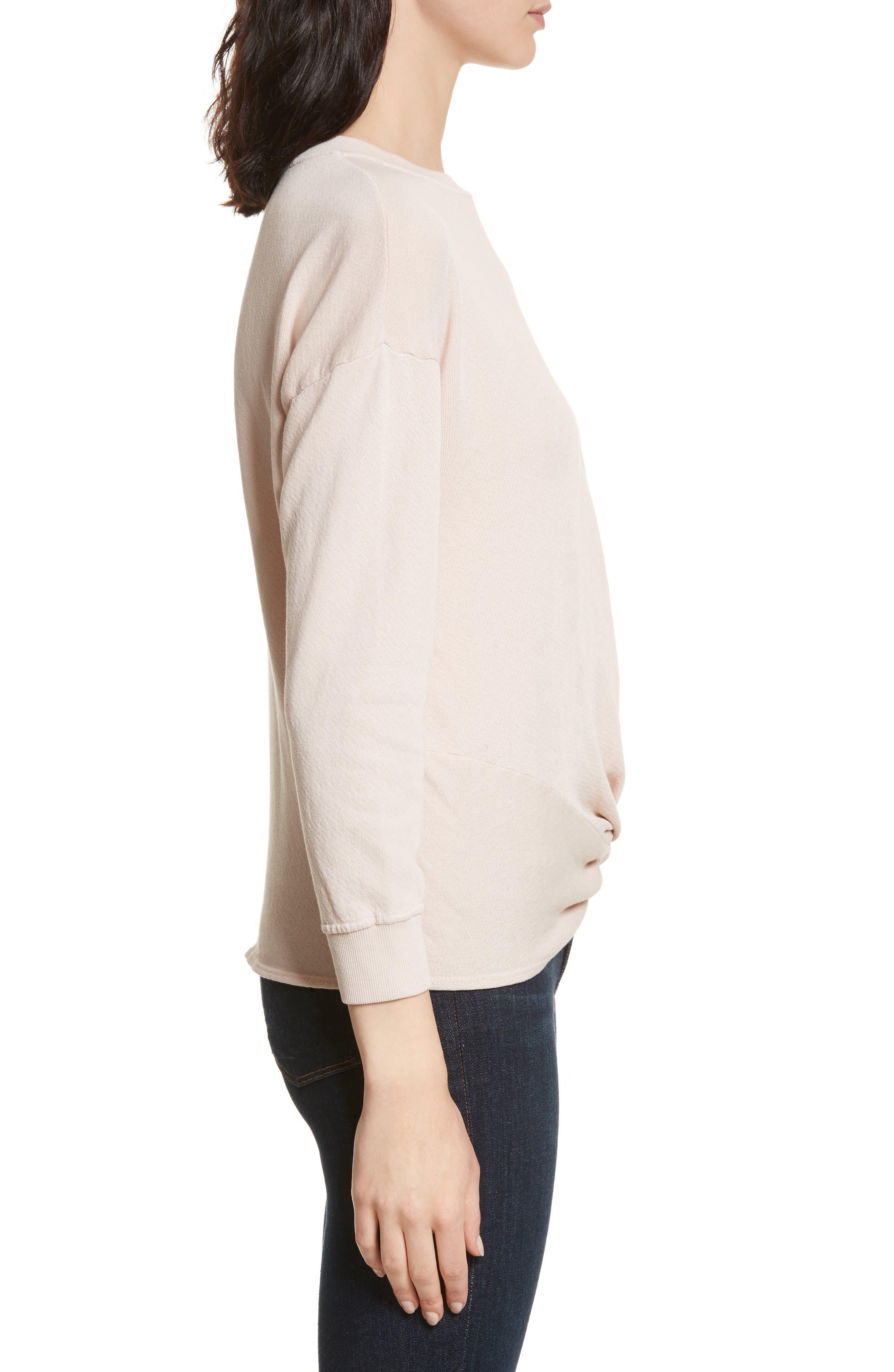 Nazani Twist Front Sweatshirt,                             Alternate thumbnail 3, color,                             Heather Rose