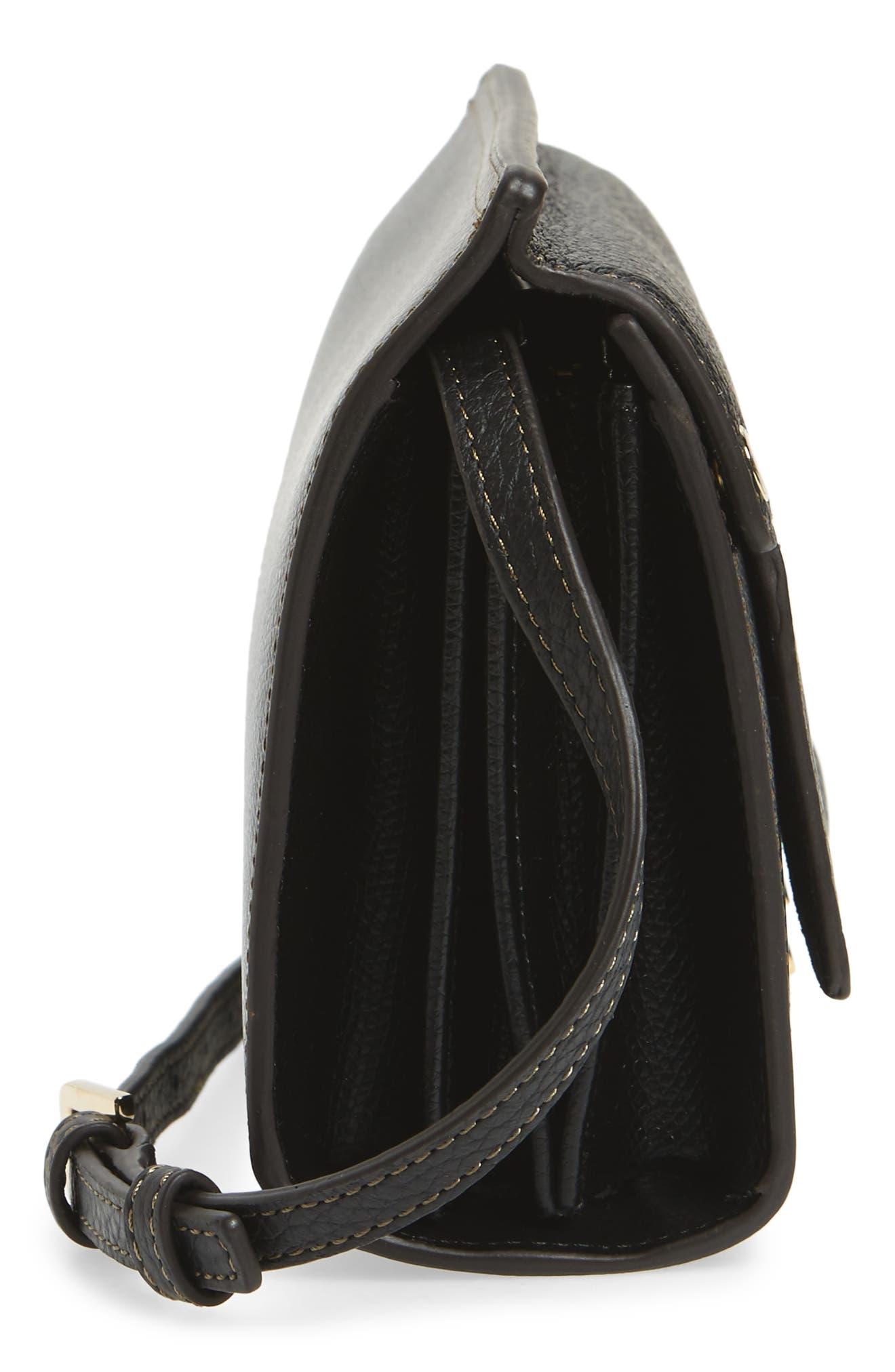 Mini Like Leather Crossbody Bag,                             Alternate thumbnail 5, color,                             Onyx
