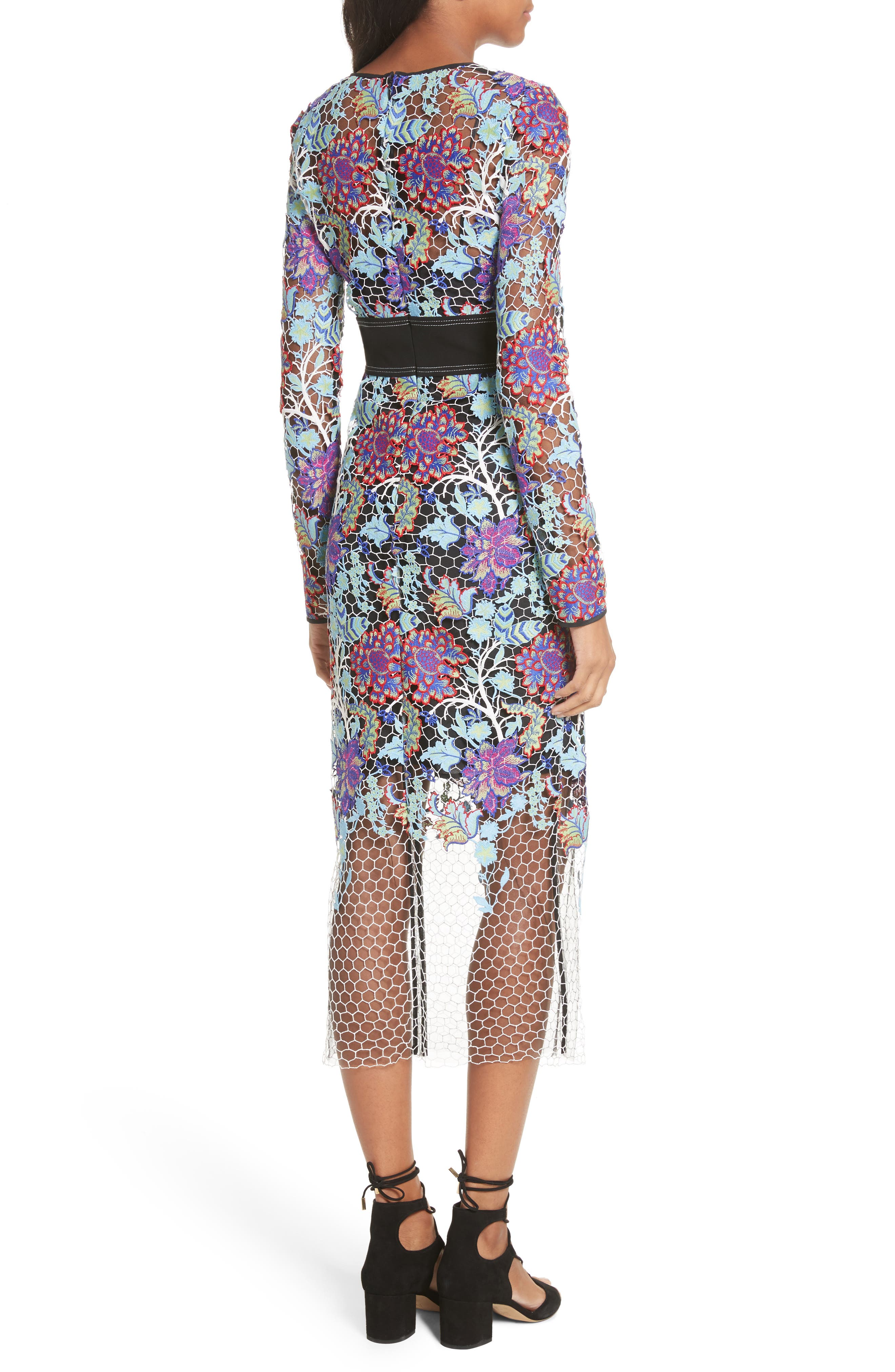 Banded Lace Overlay Dress,                             Alternate thumbnail 2, color,                             Ivory Multi