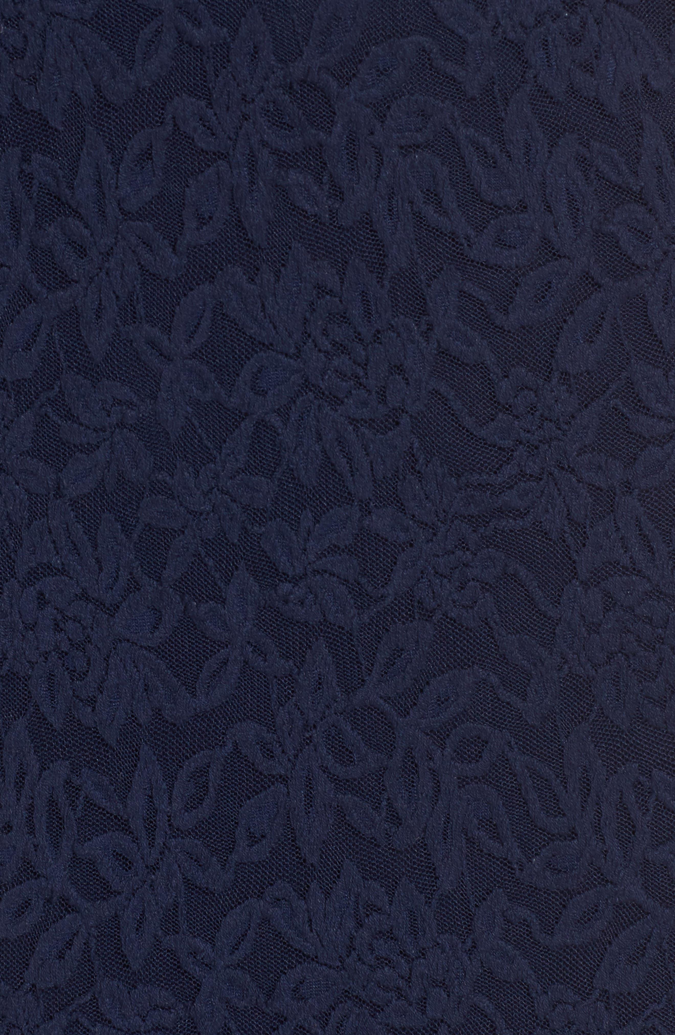 Delicia Lace Body-Con Dress,                             Alternate thumbnail 5, color,                             Dark Blue