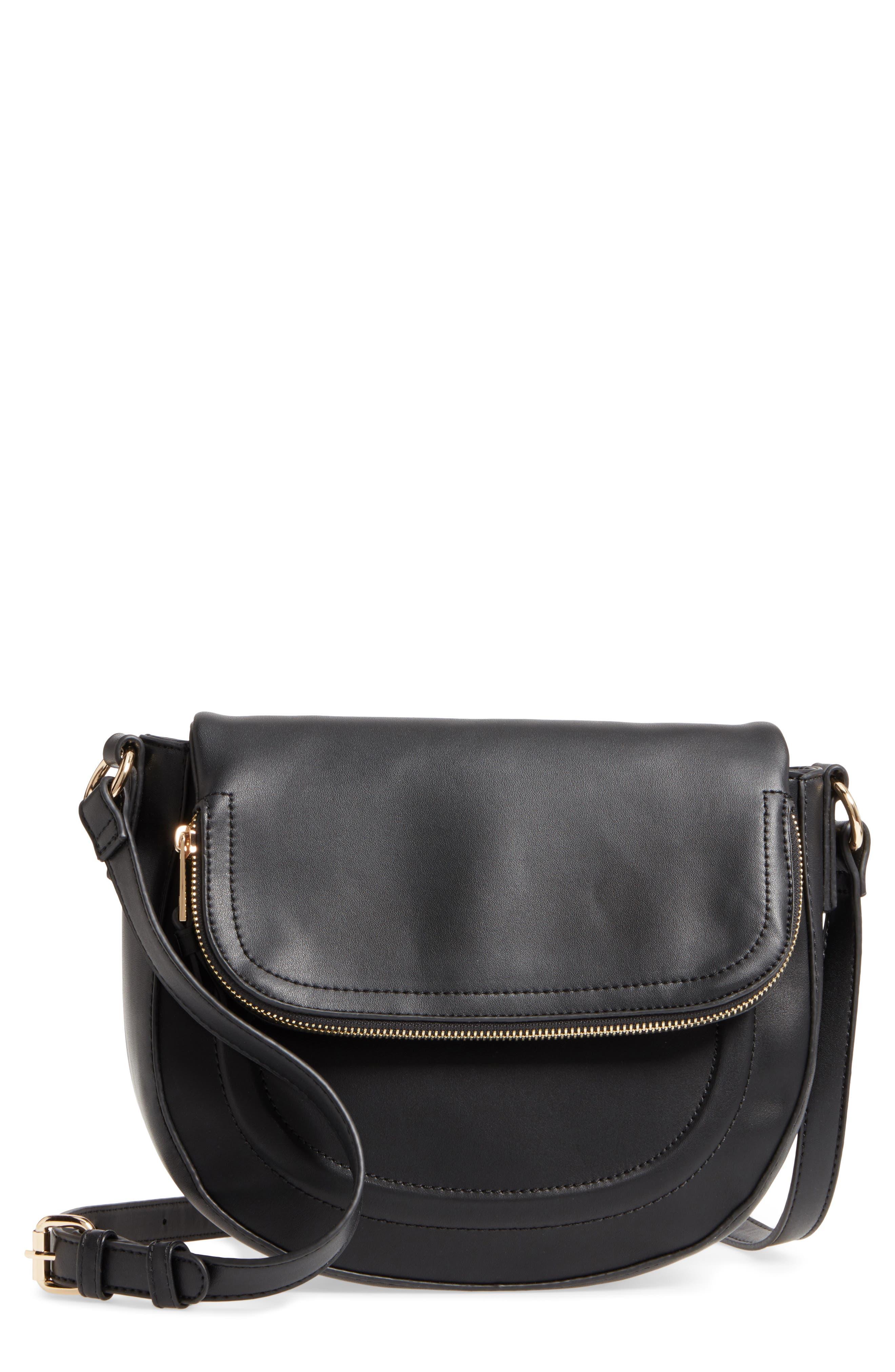 Adden Faux Leather Crossbody Bag,                             Main thumbnail 1, color,                             Black