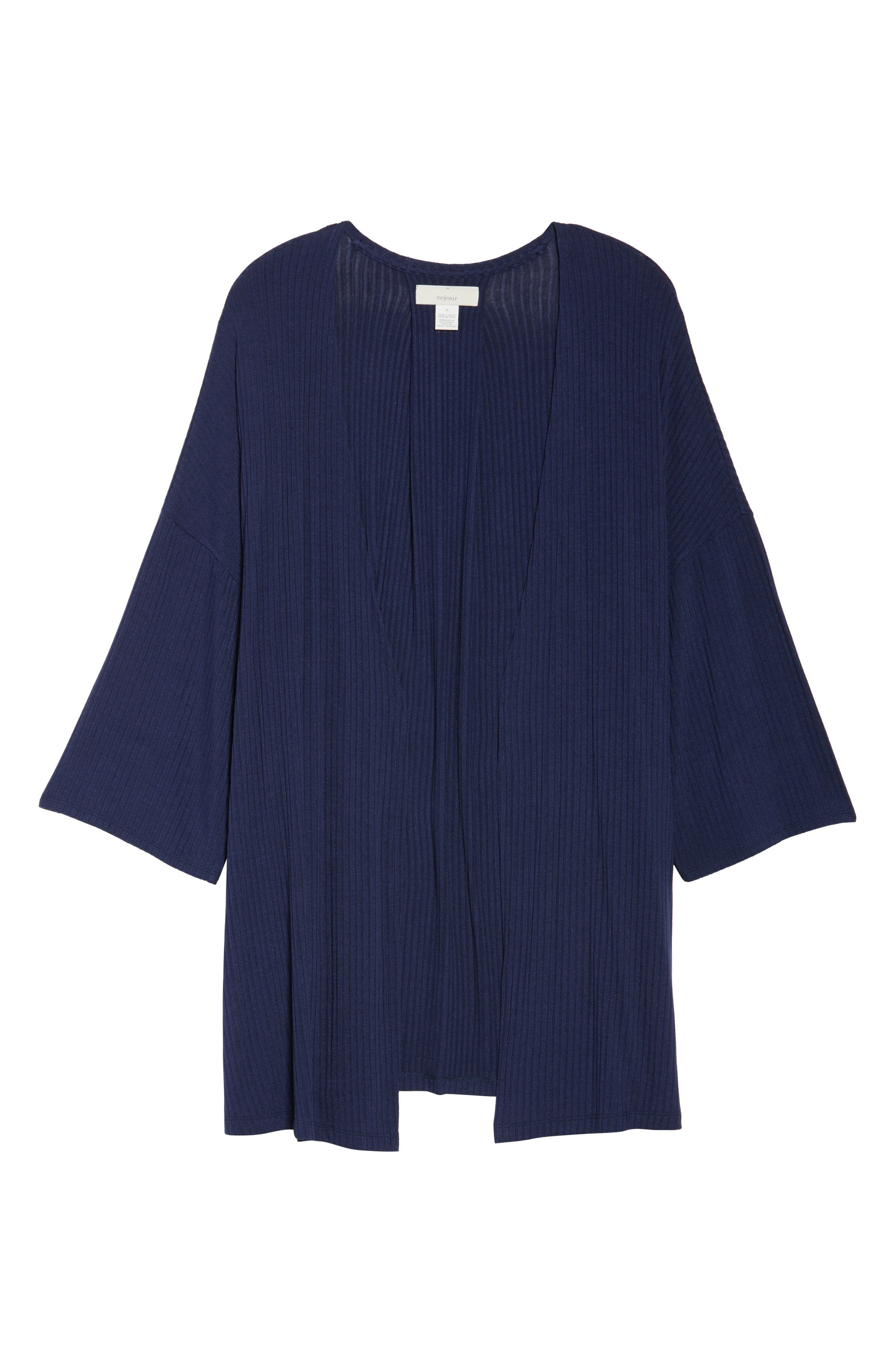 Main Image - Sejour Ribbed Open-Front Cardigan (Plus Size)