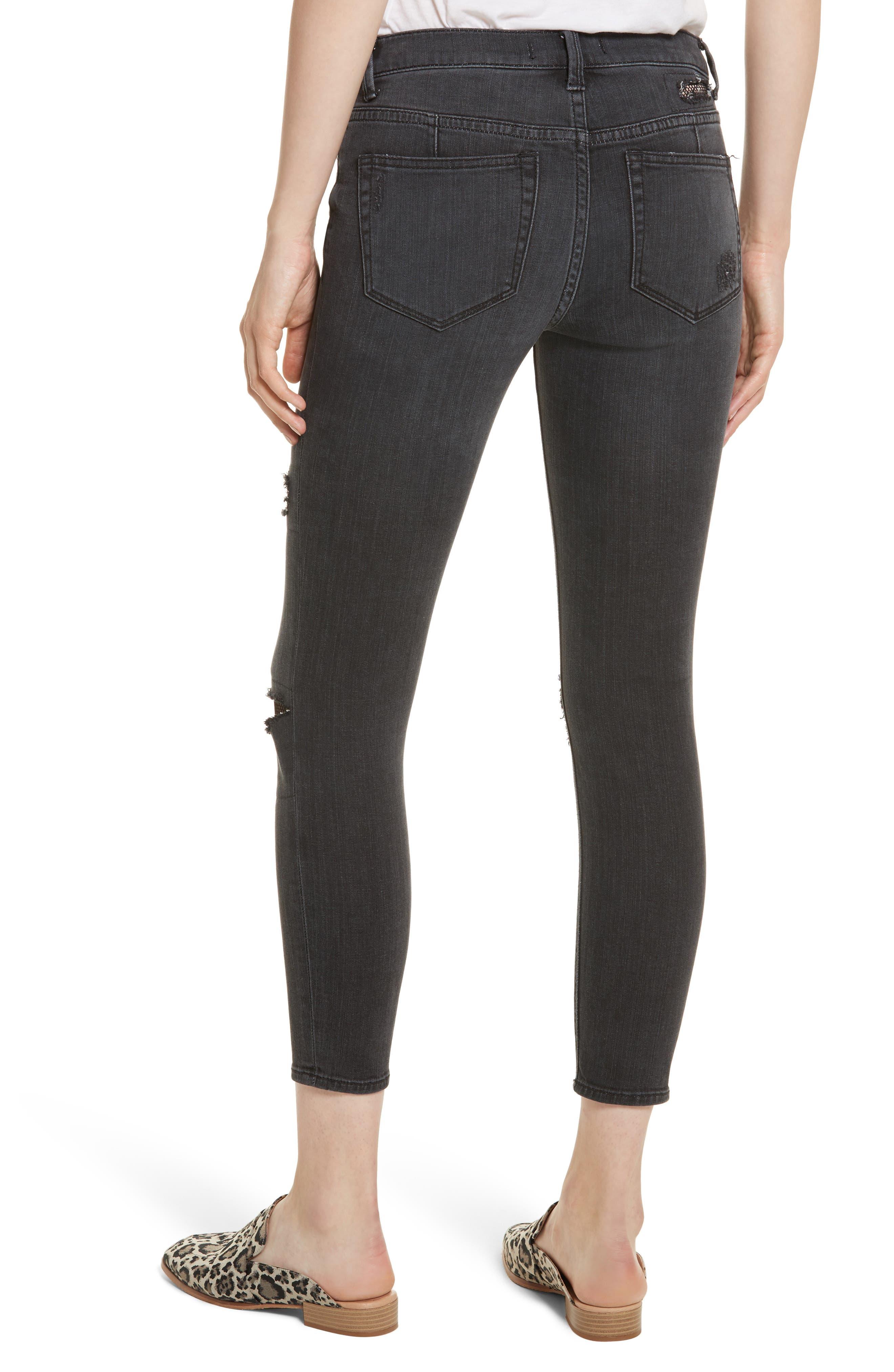 Fishnet Crop Skinny Jeans,                             Alternate thumbnail 2, color,                             Black