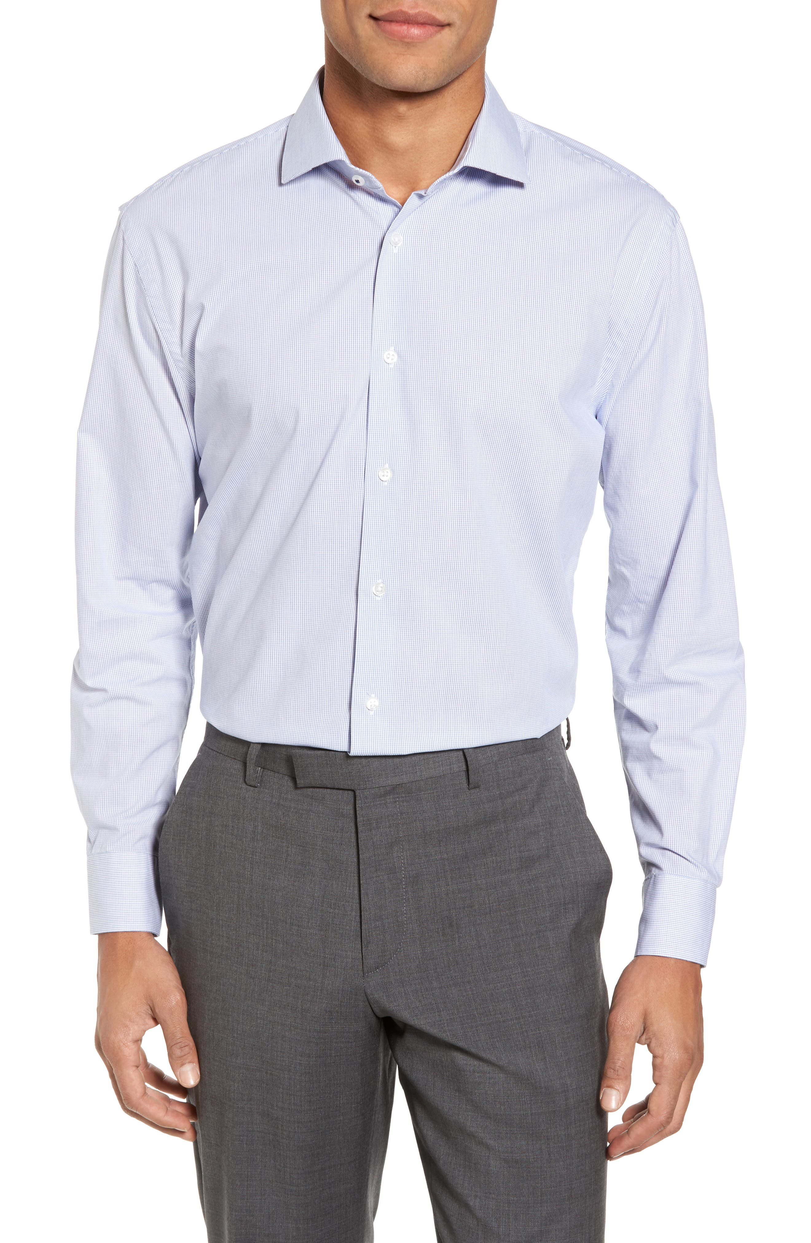 Main Image - Nordstrom Men's Shop Tech-Smart Trim Fit Stretch Tattersall Dress Shirt