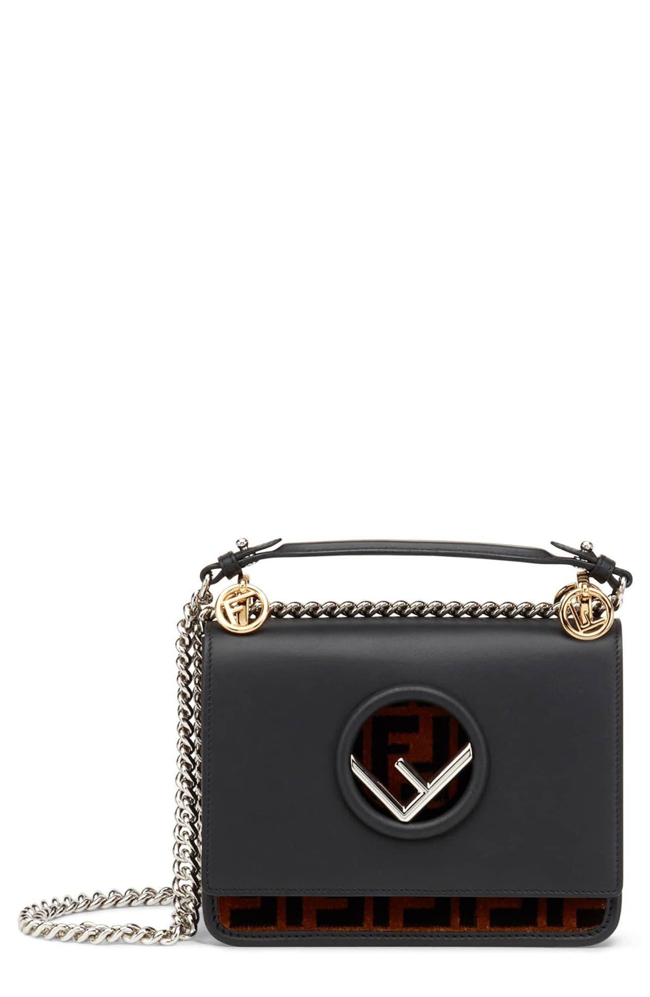 Small Kan I Logo Leather Shoulder Bag,                             Main thumbnail 1, color,                             Nero/ Tobacco/ Palladio