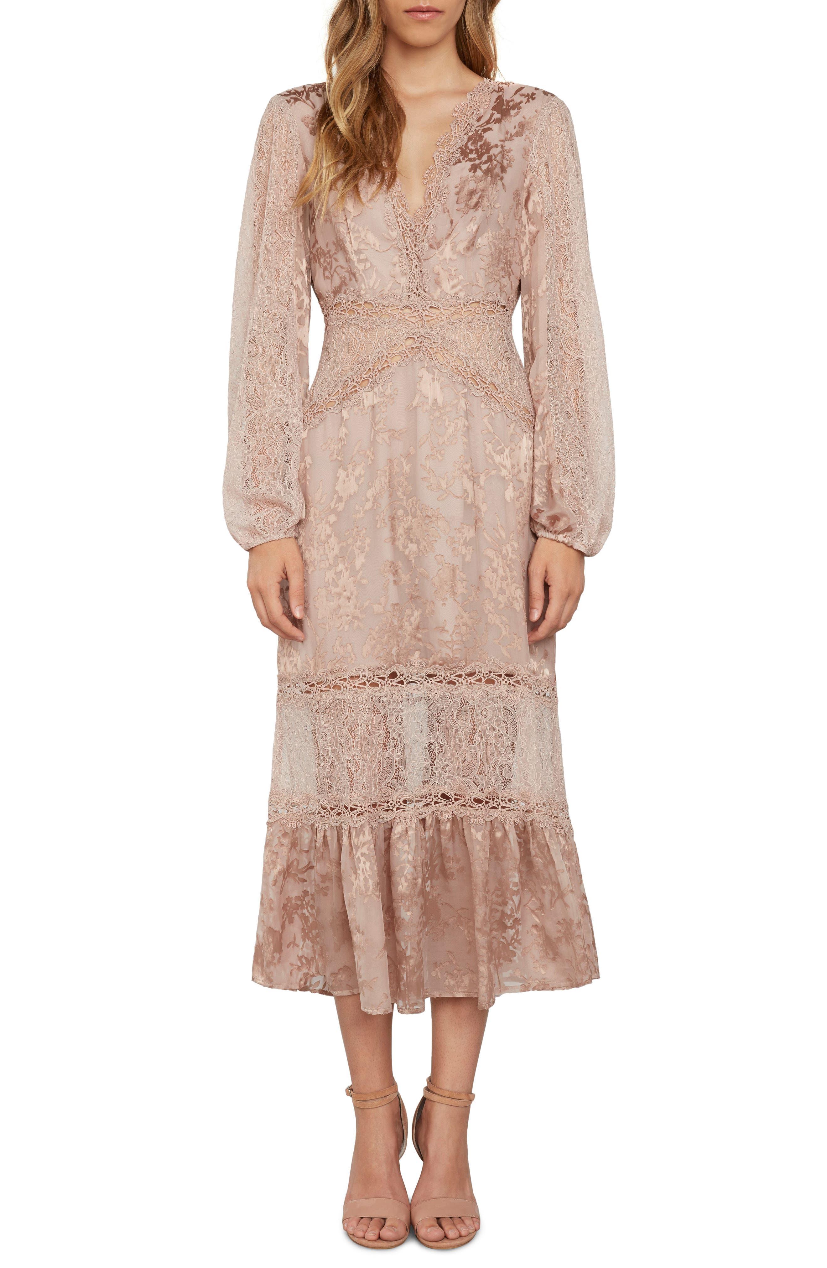 Lace Midi Dress,                         Main,                         color, Ballet