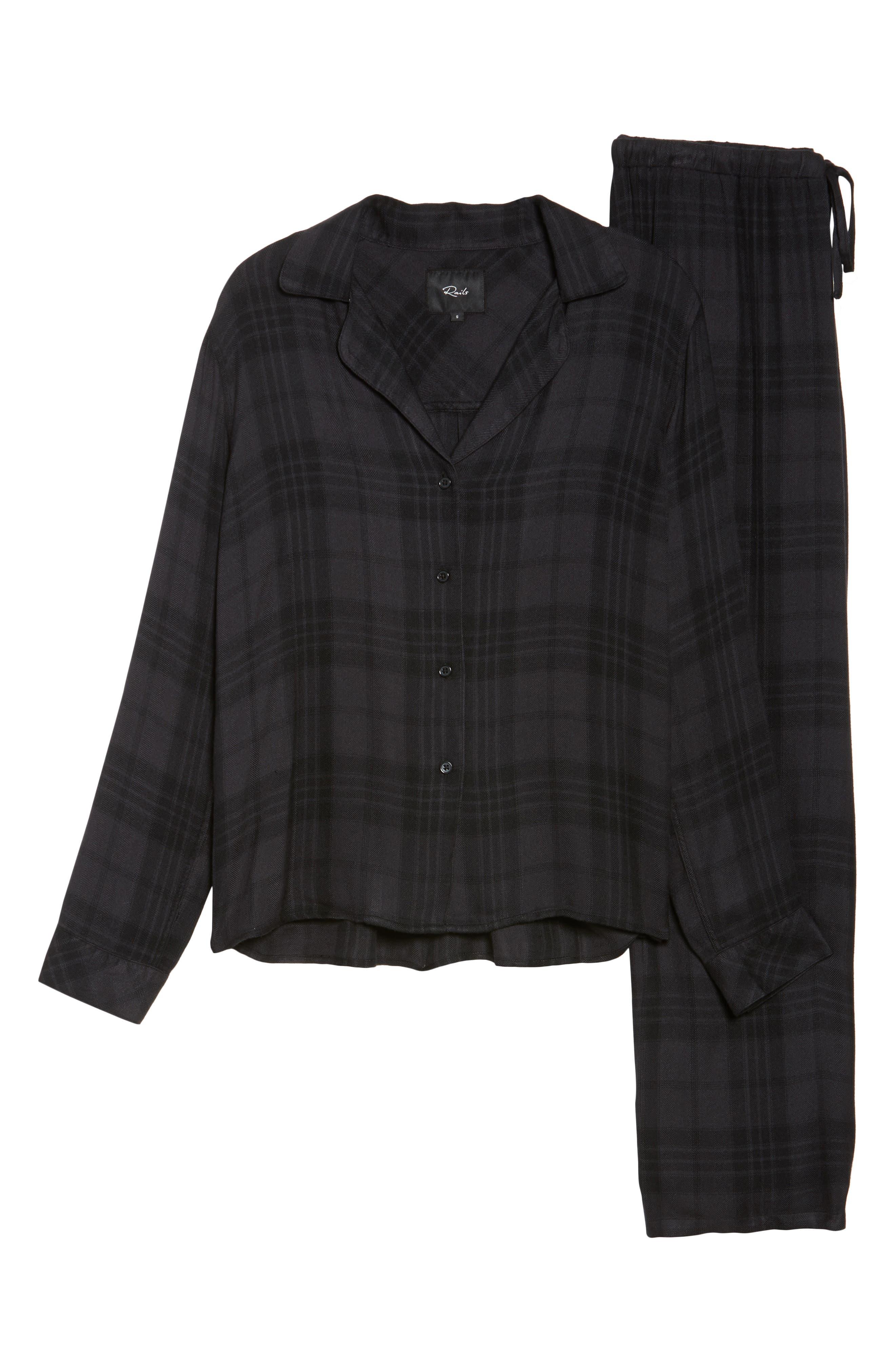Plaid Pajamas,                             Alternate thumbnail 4, color,                             Onyx/ Jet