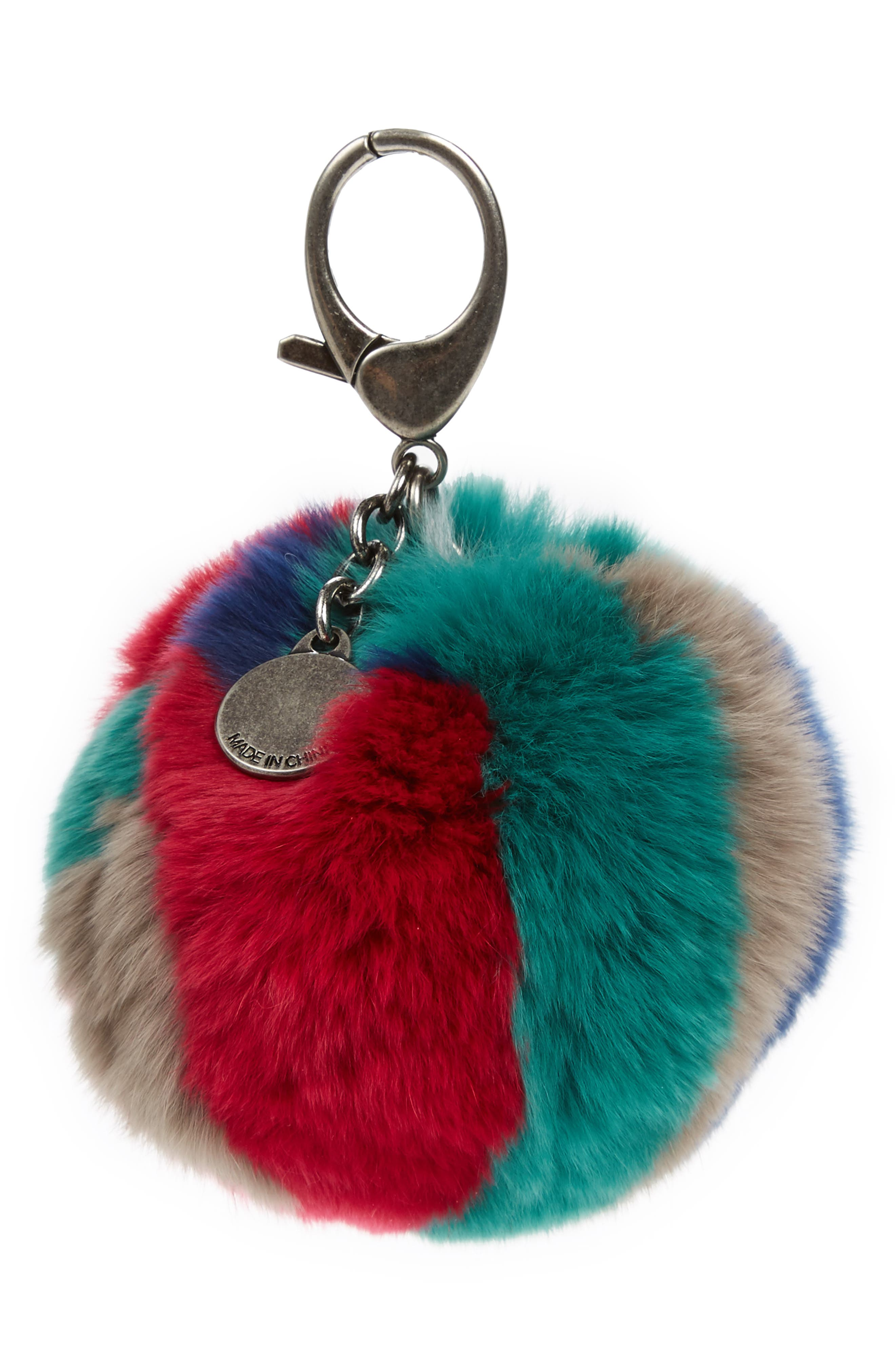 Genuine Fox Fur Bag Charm,                         Main,                         color, Bright Multi