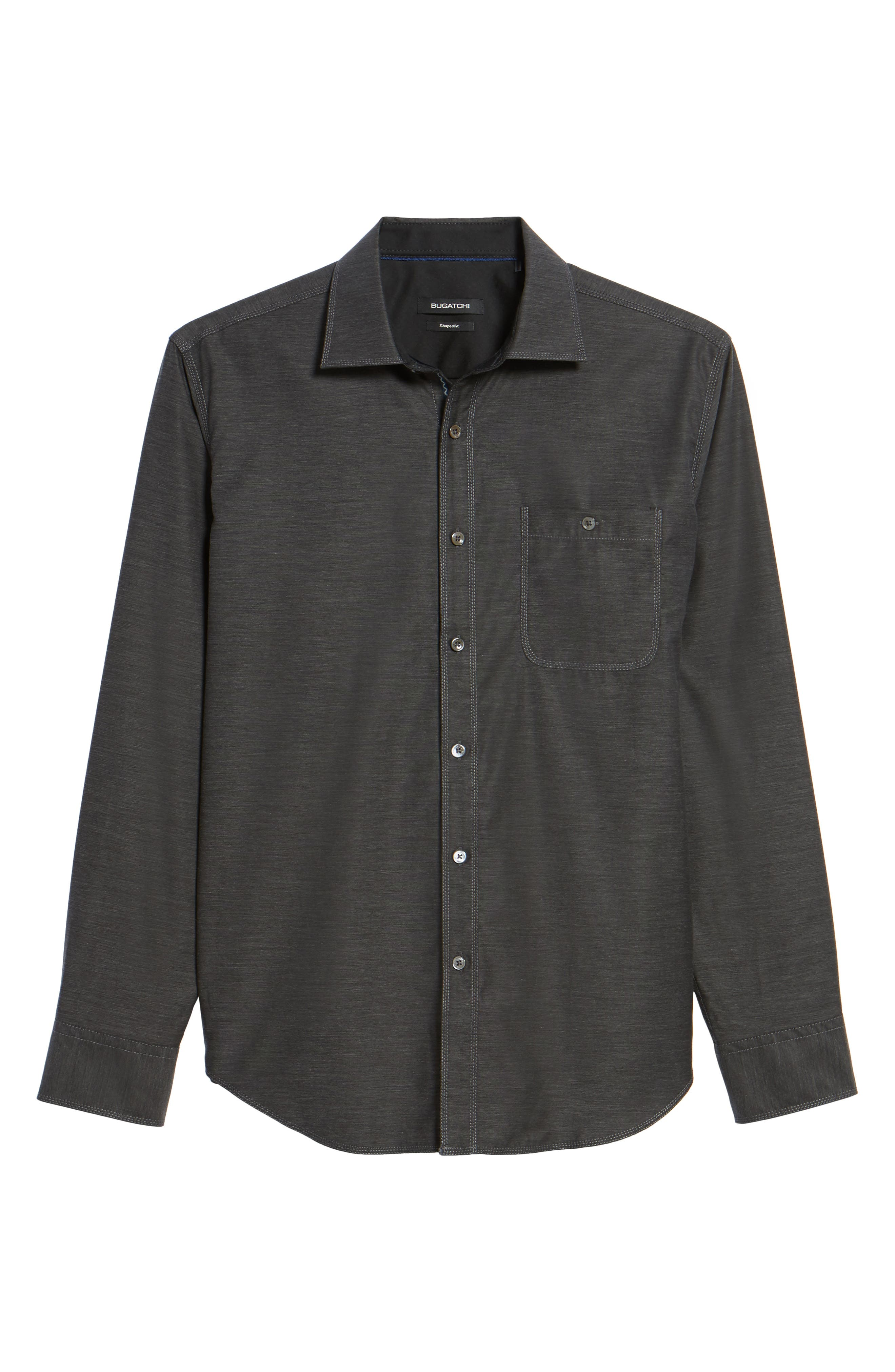 Trim Fit Heathered Sport Shirt,                             Alternate thumbnail 6, color,                             Charcoal