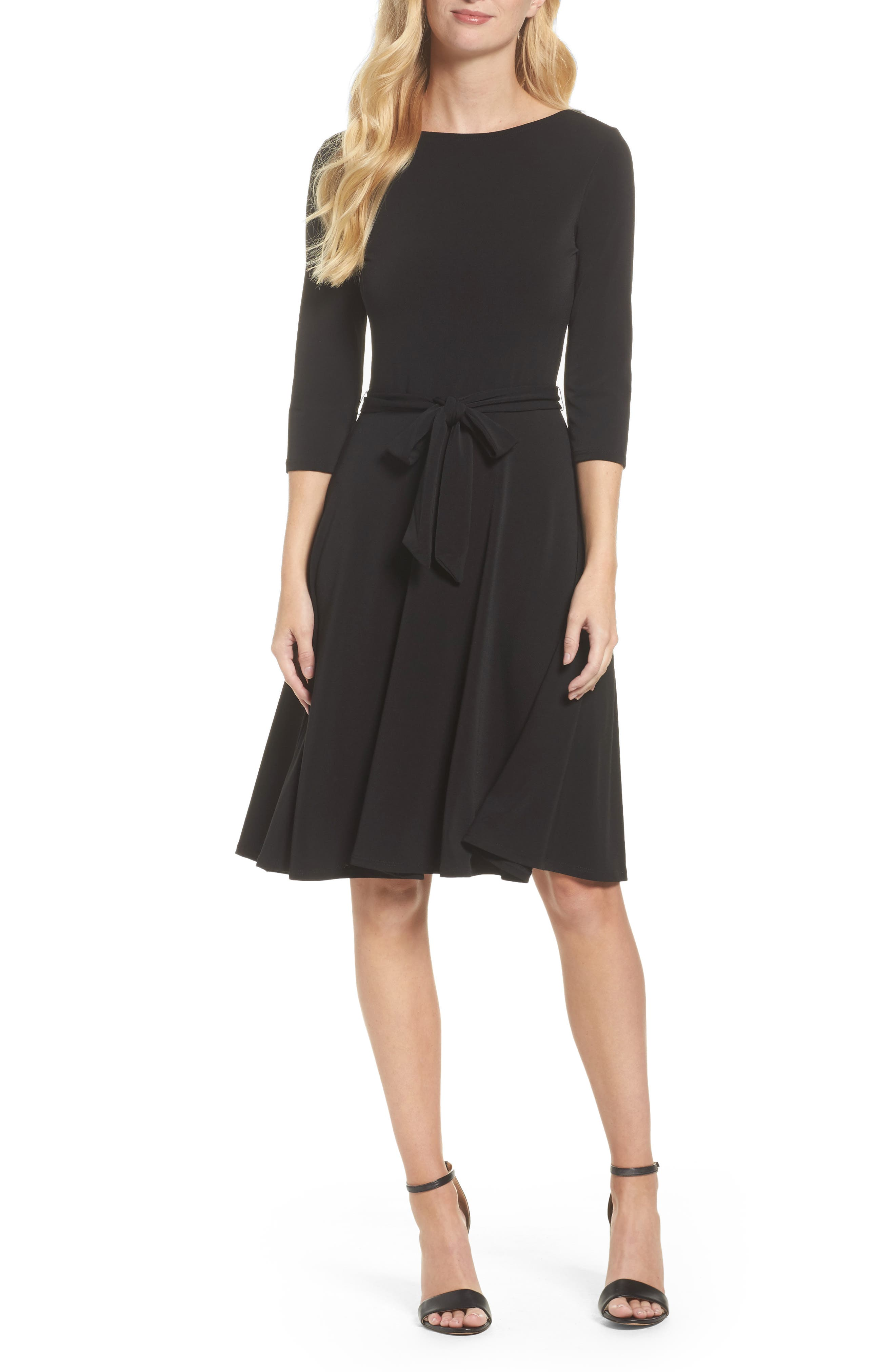 Belted Print Jersey A-Line Dress,                             Main thumbnail 1, color,                             Black Crepe