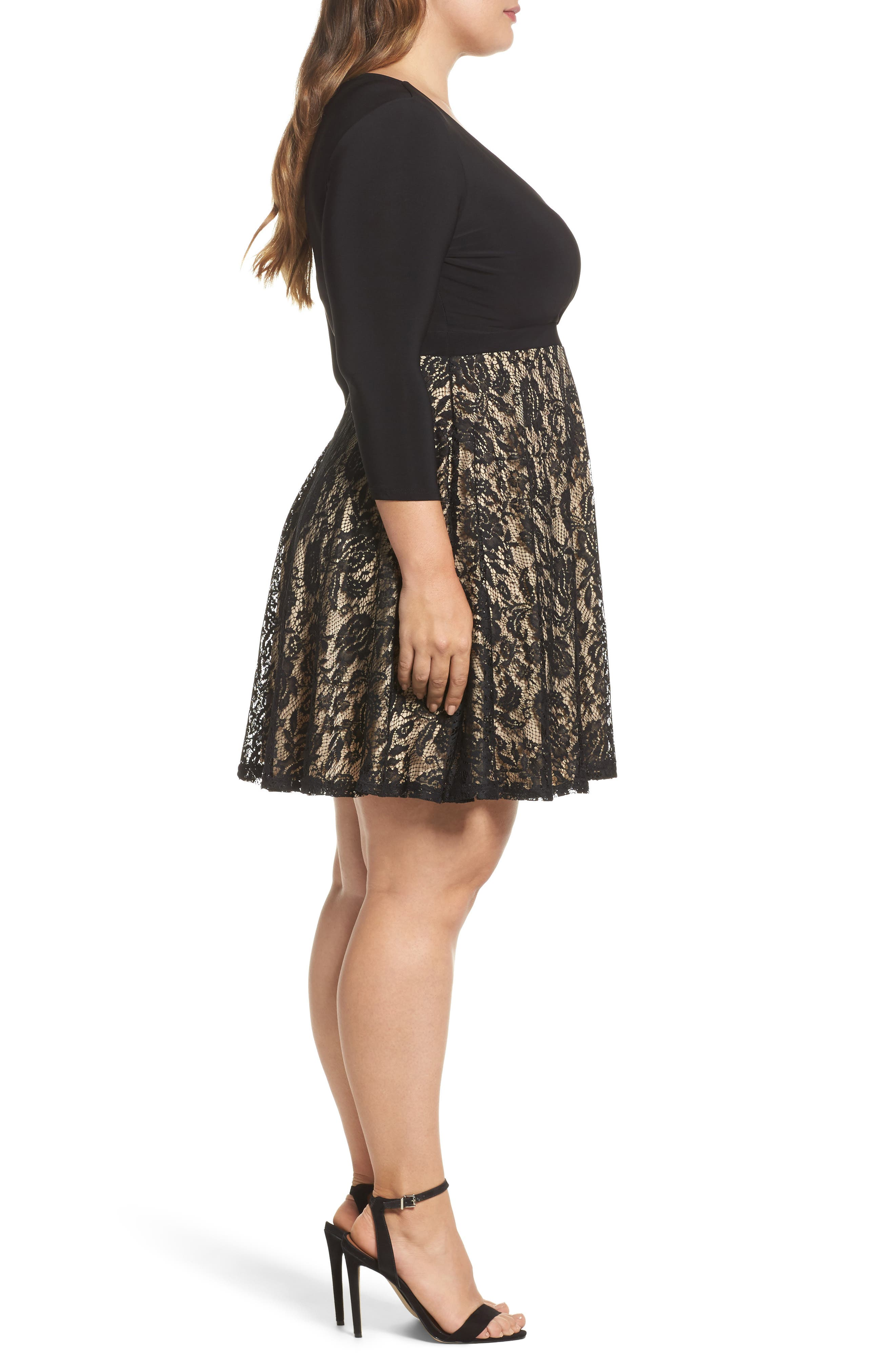 Lace Skirt Skater Dress,                             Alternate thumbnail 3, color,                             Black