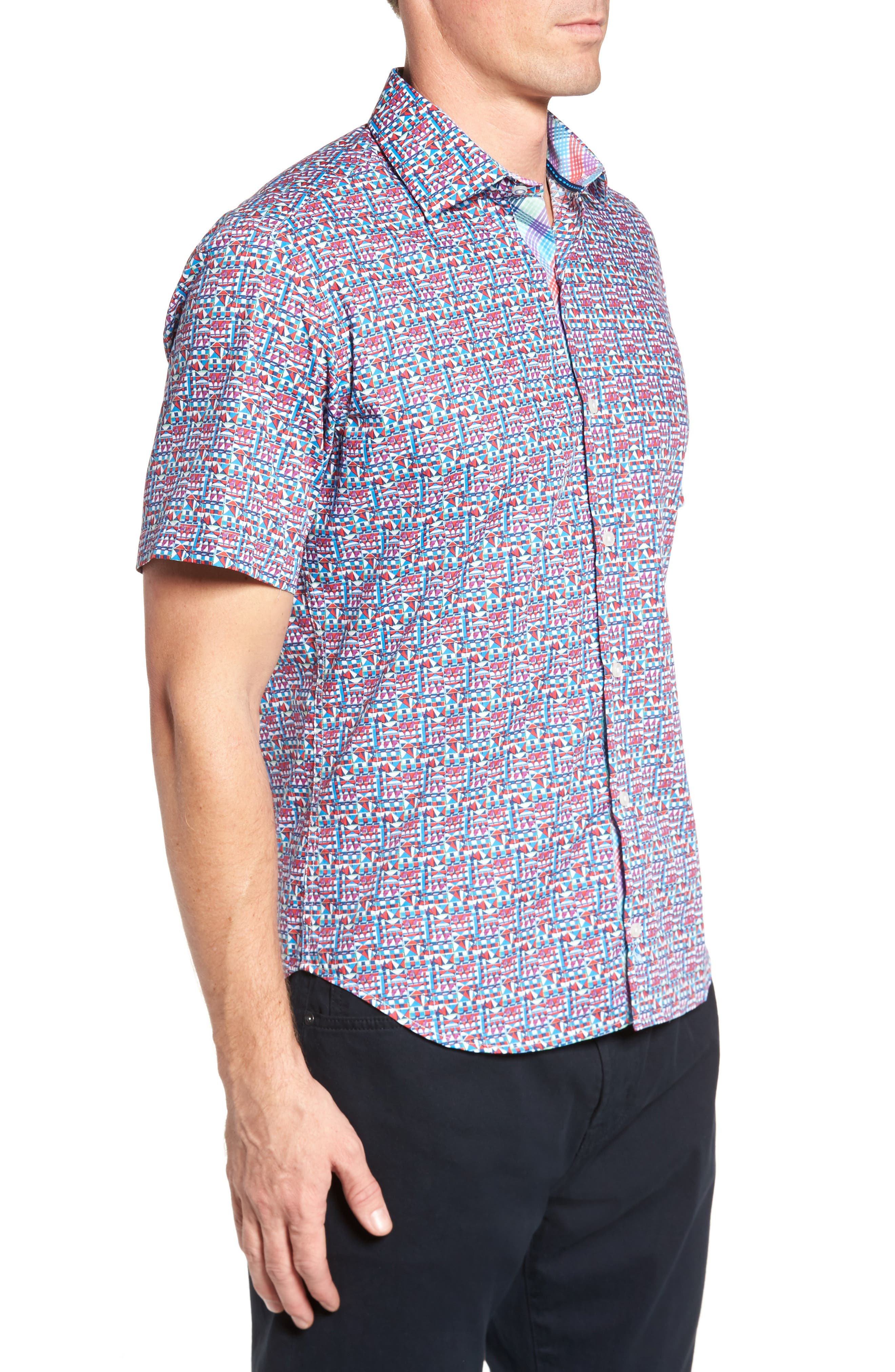 Maurice Print Sport Shirt,                             Alternate thumbnail 3, color,                             Coral