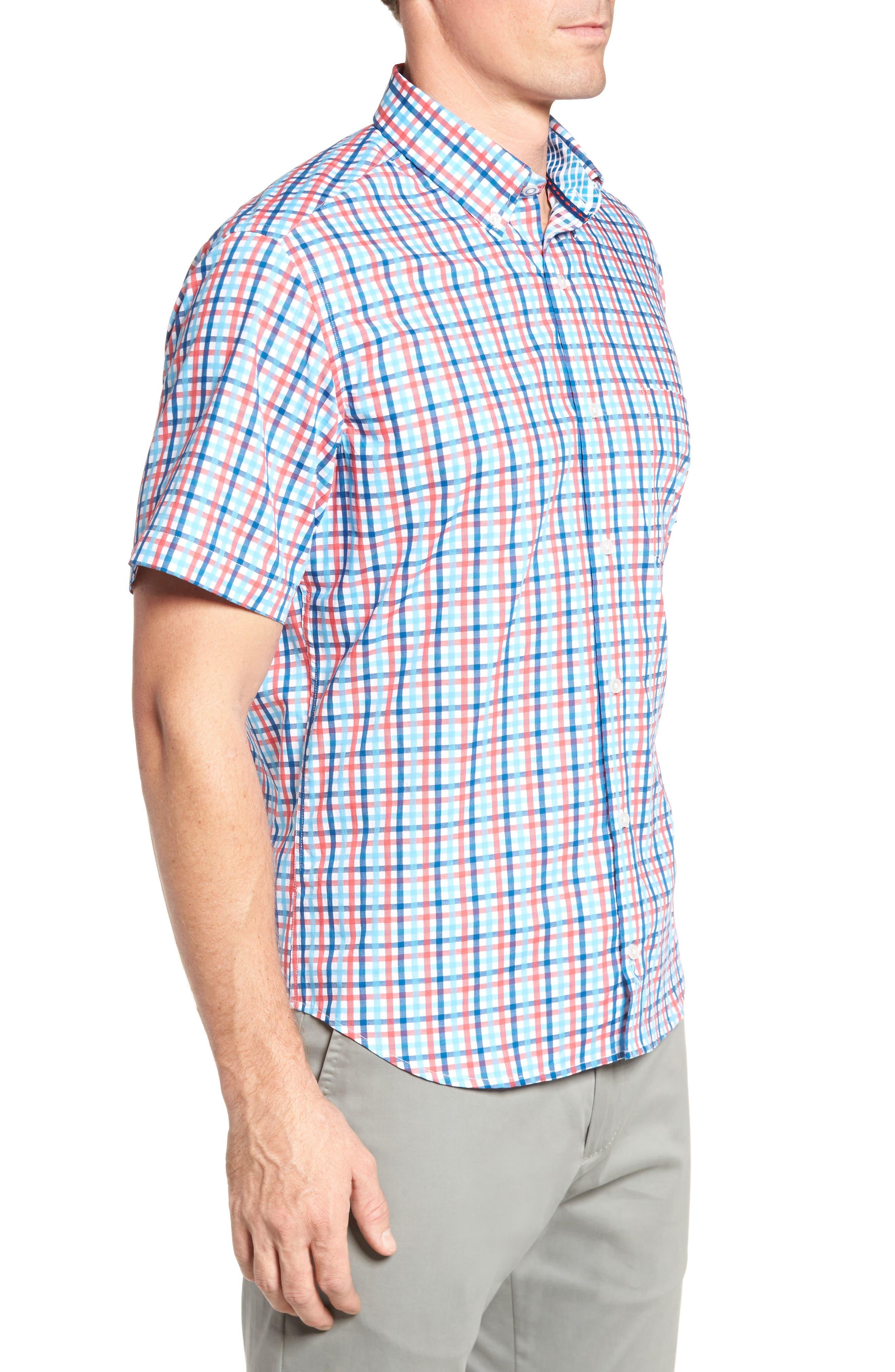 Scott Regular Fit Plaid Sport Shirt,                             Alternate thumbnail 3, color,                             Coral