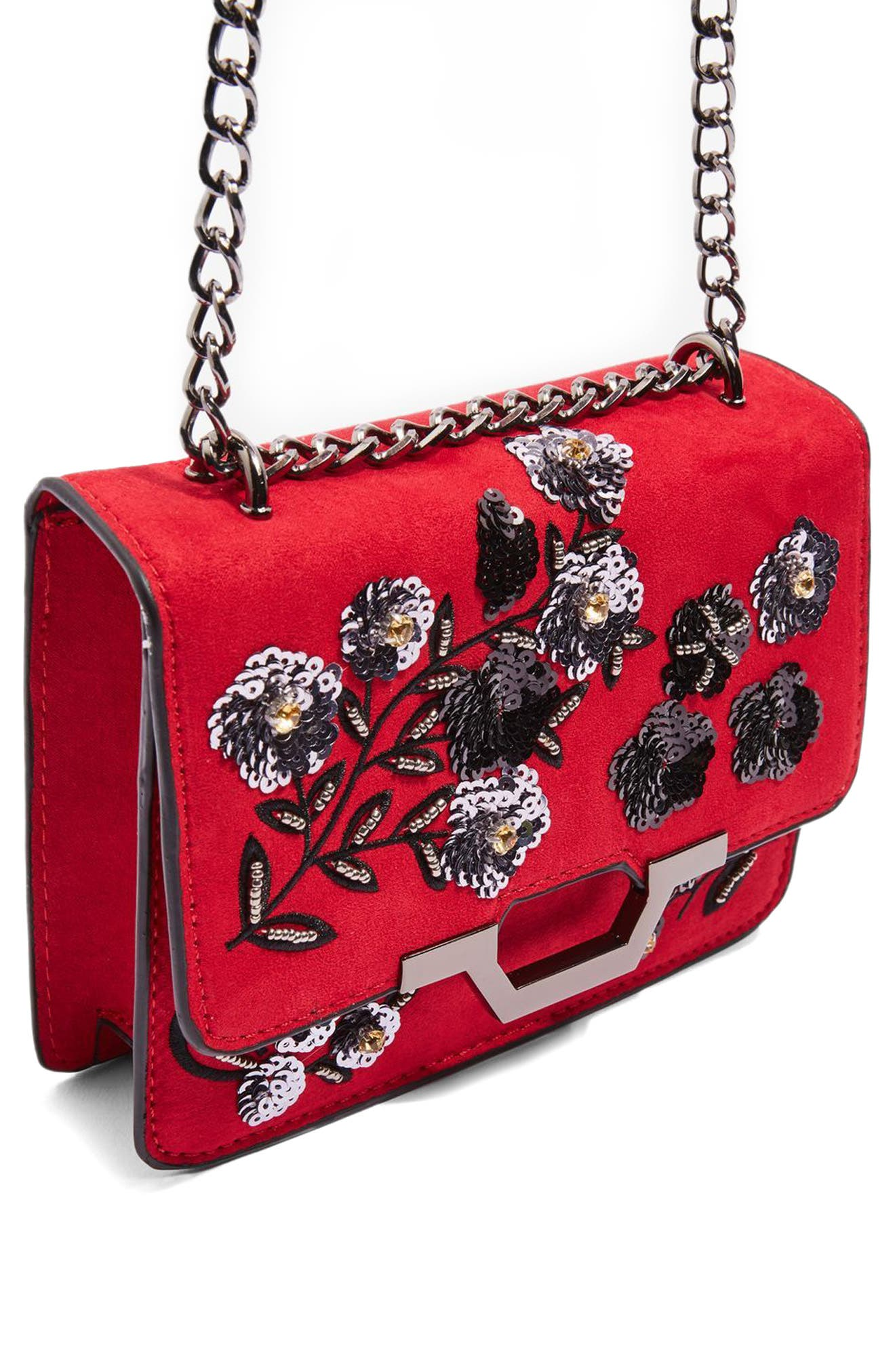 Alternate Image 5  - Topshop Kylie Embellished Faux Suede Crossbody Bag
