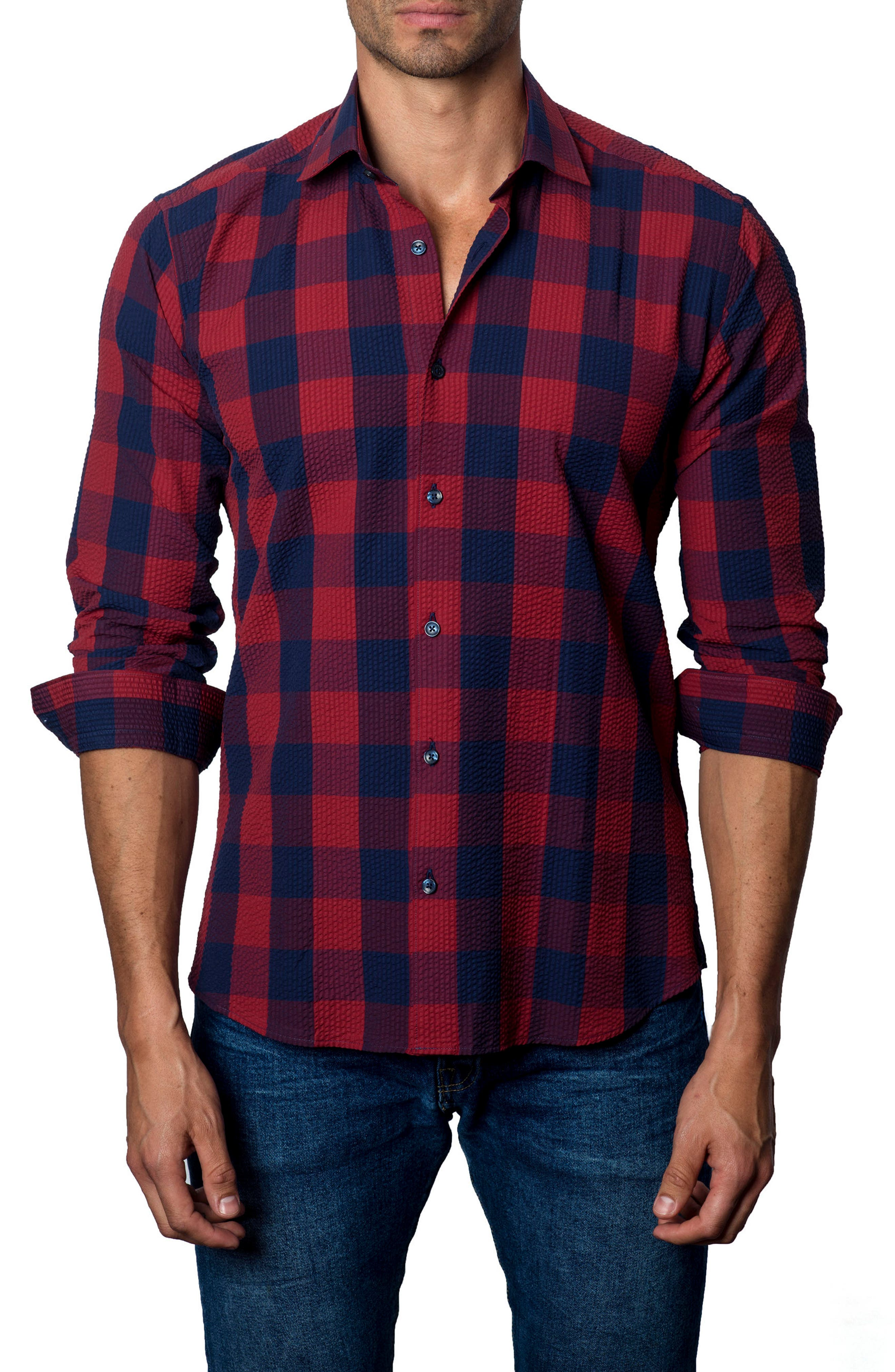 Check Sport Shirt,                         Main,                         color, Red / Navy Plaid