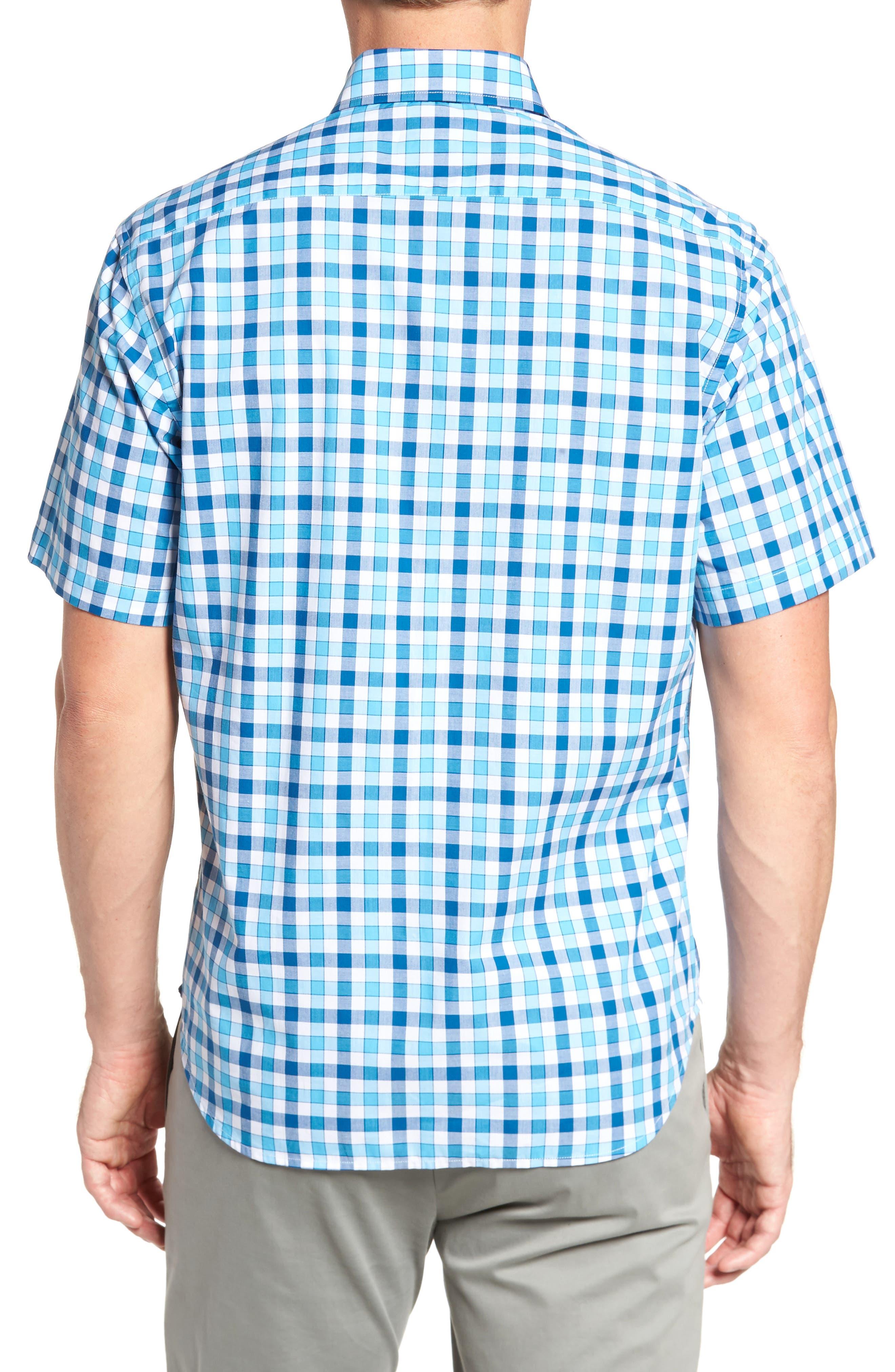 West We Go Regular Fit Plaid Sport Shirt,                             Alternate thumbnail 2, color,                             Aqua