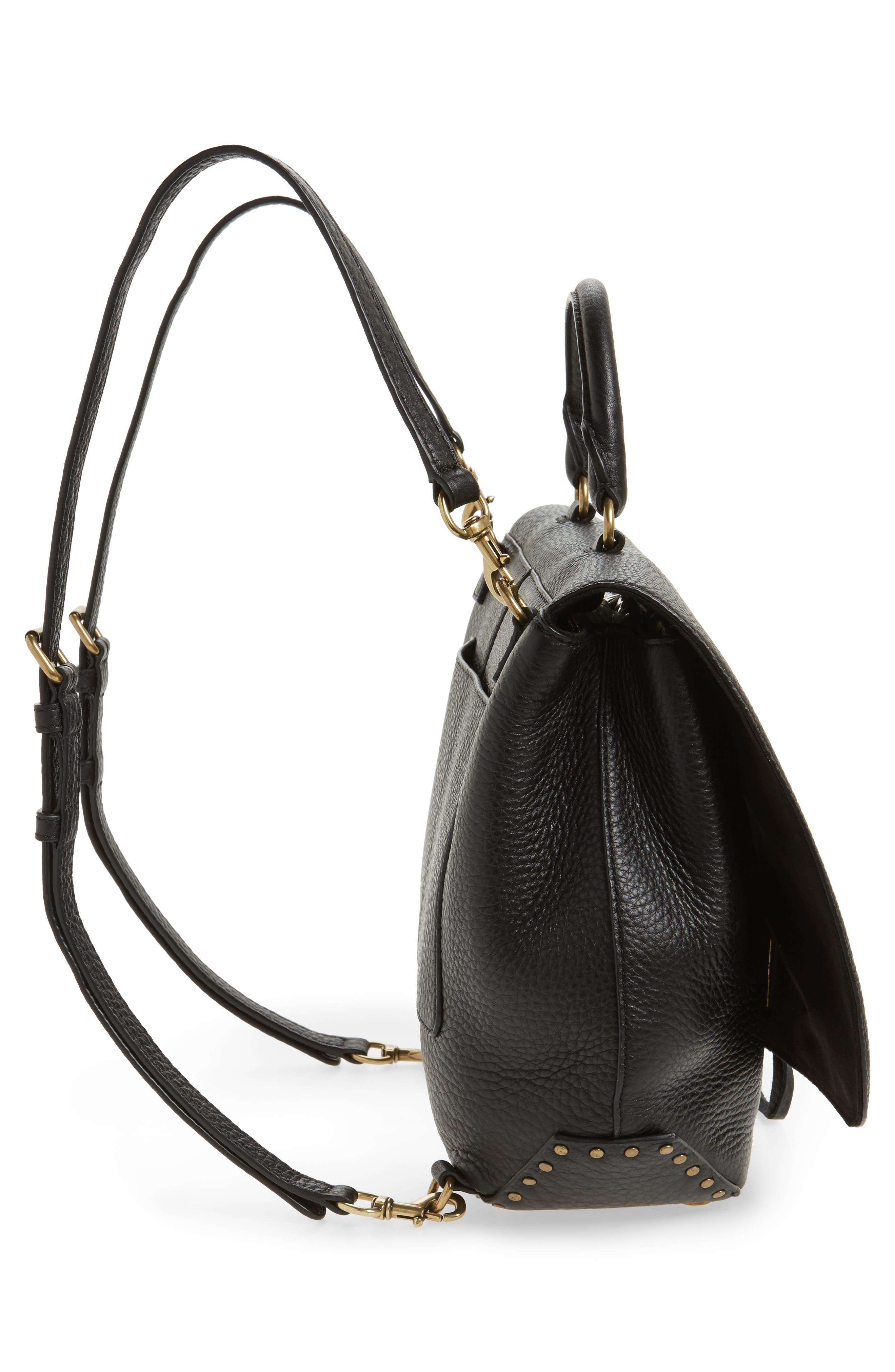 Darren Convertible Leather Backpack,                             Alternate thumbnail 6, color,                             Black