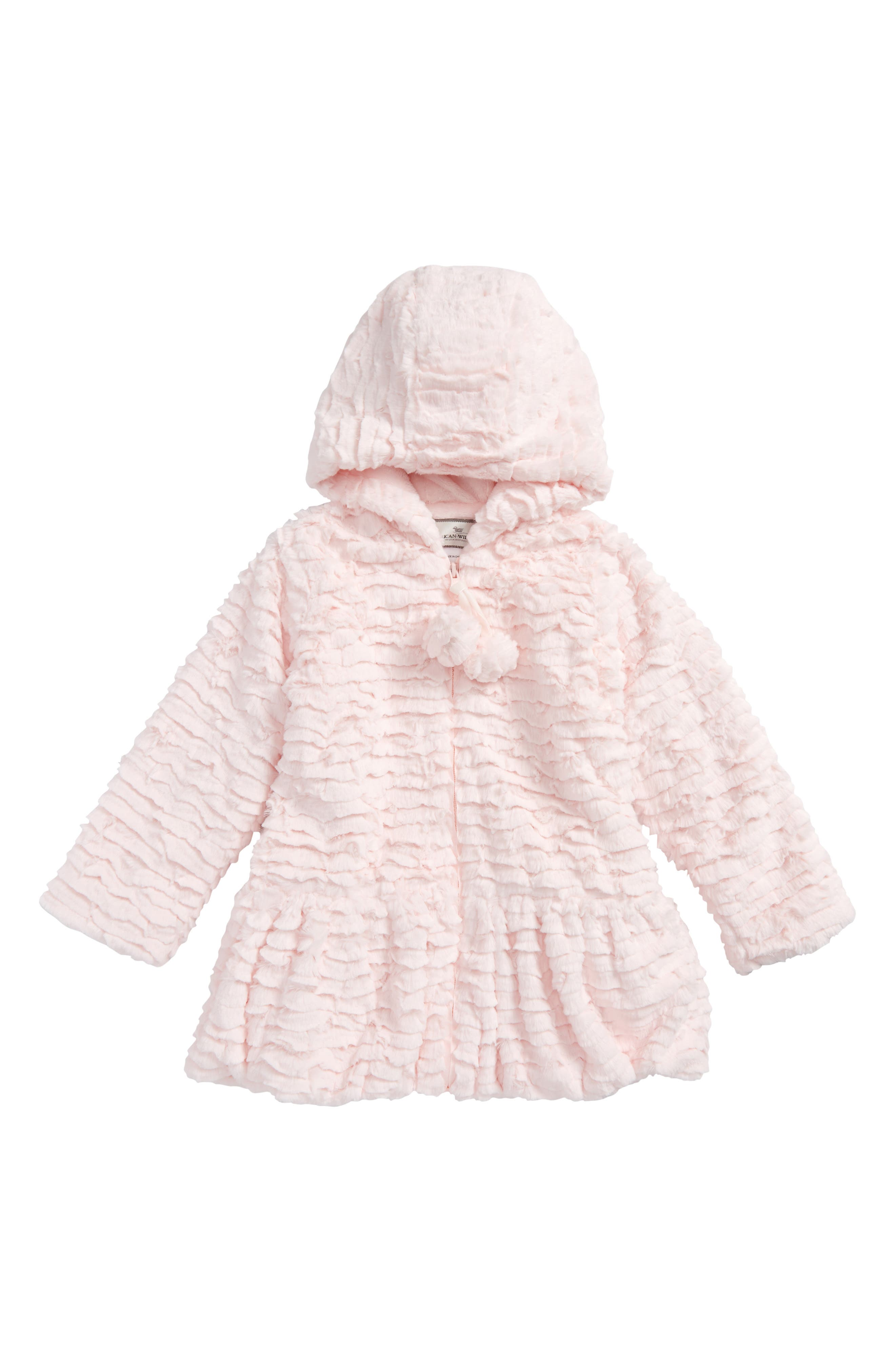 Faux Fur Hooded Peplum Coat,                             Main thumbnail 1, color,                             Pink Sandstone