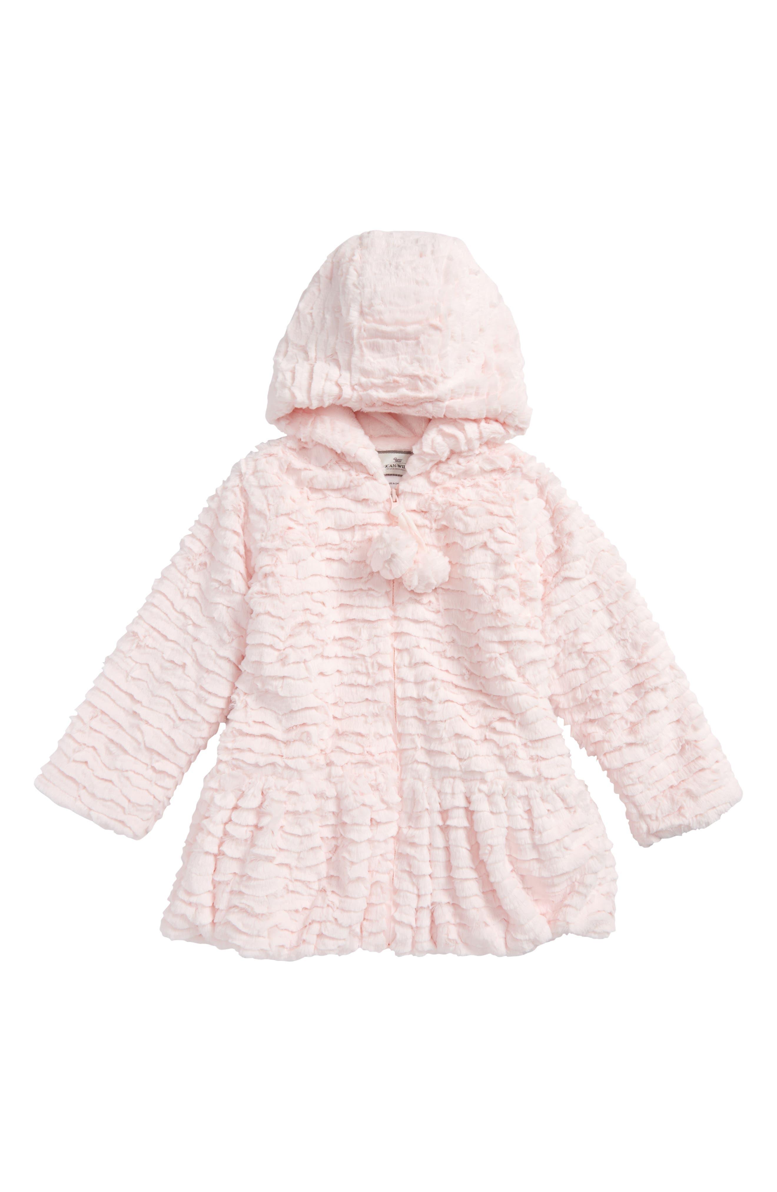 Faux Fur Hooded Peplum Coat,                         Main,                         color, Pink Sandstone