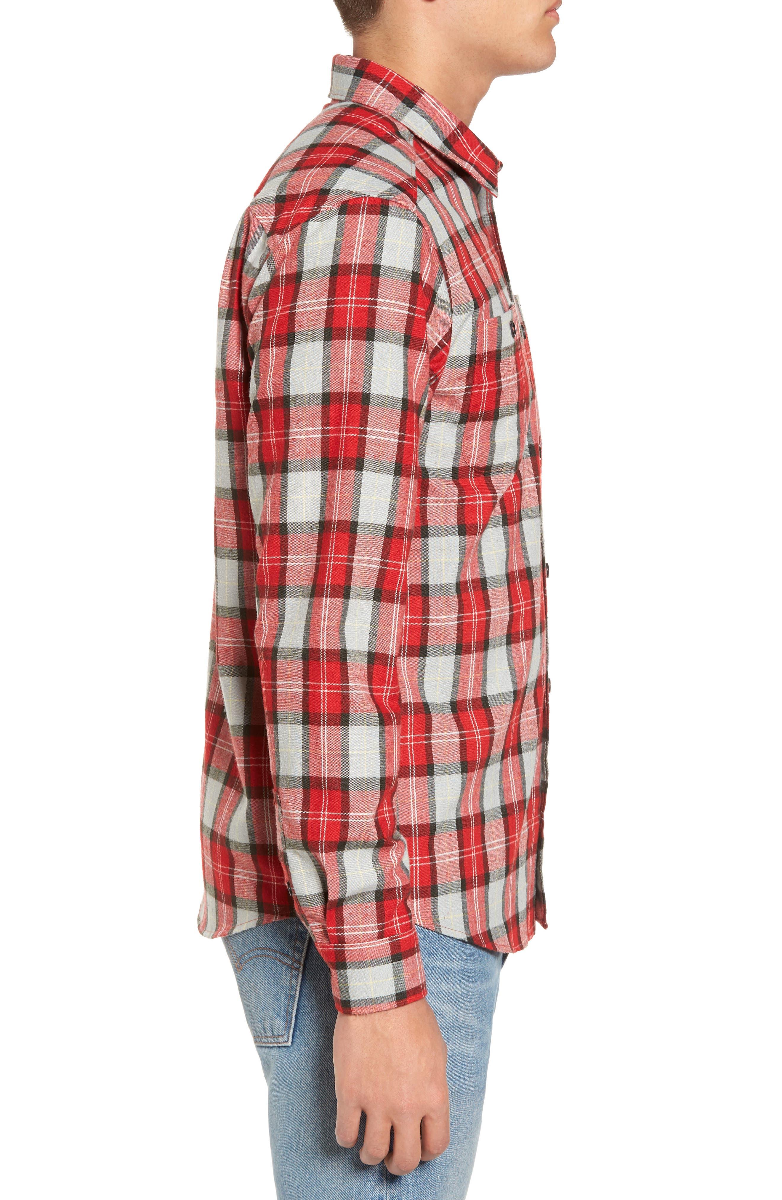 Bone Flannel Shirt,                             Alternate thumbnail 3, color,                             Pompei Red