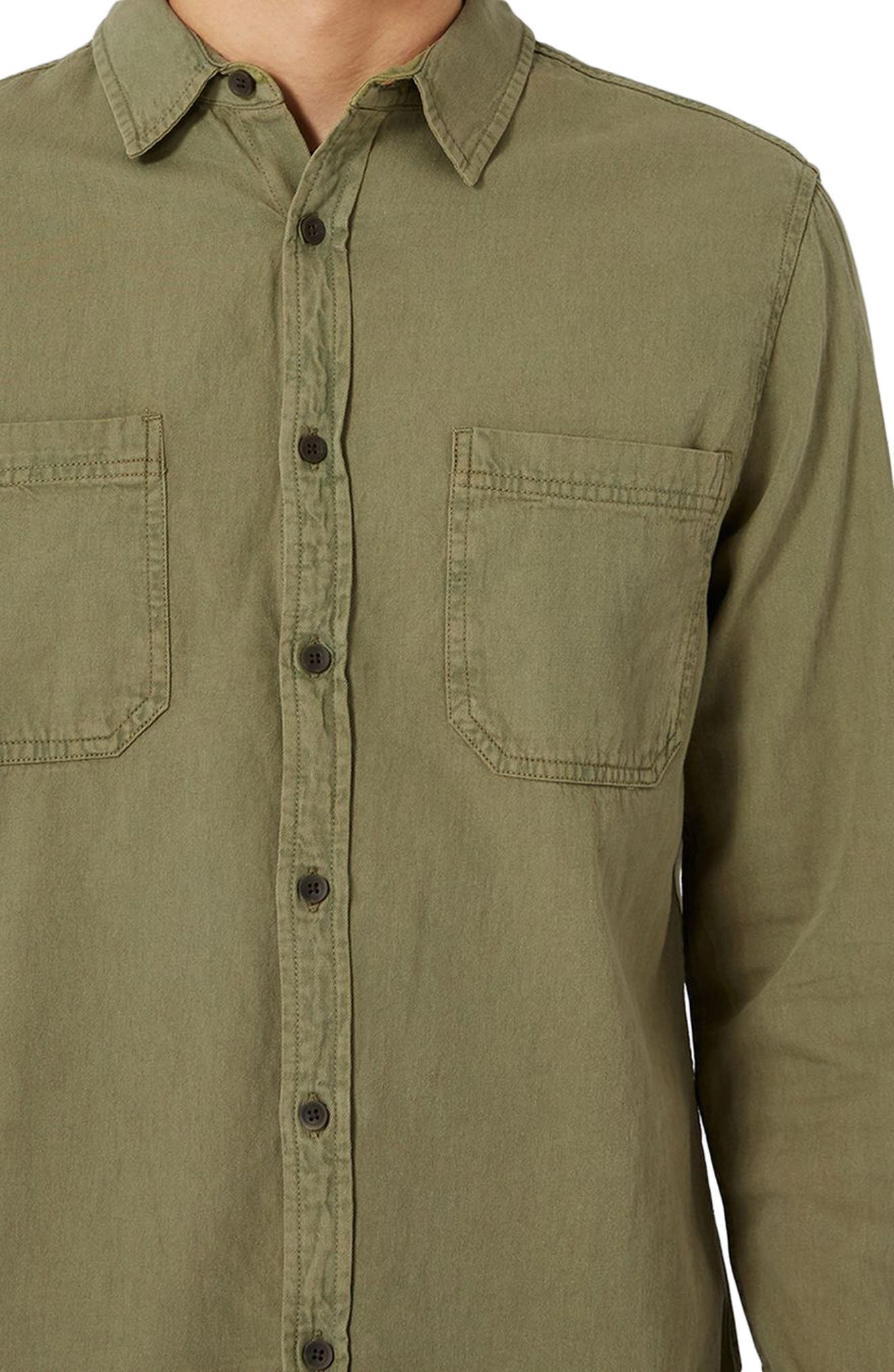 Trim Fit Washed Twill Shirt,                             Alternate thumbnail 3, color,                             Olive