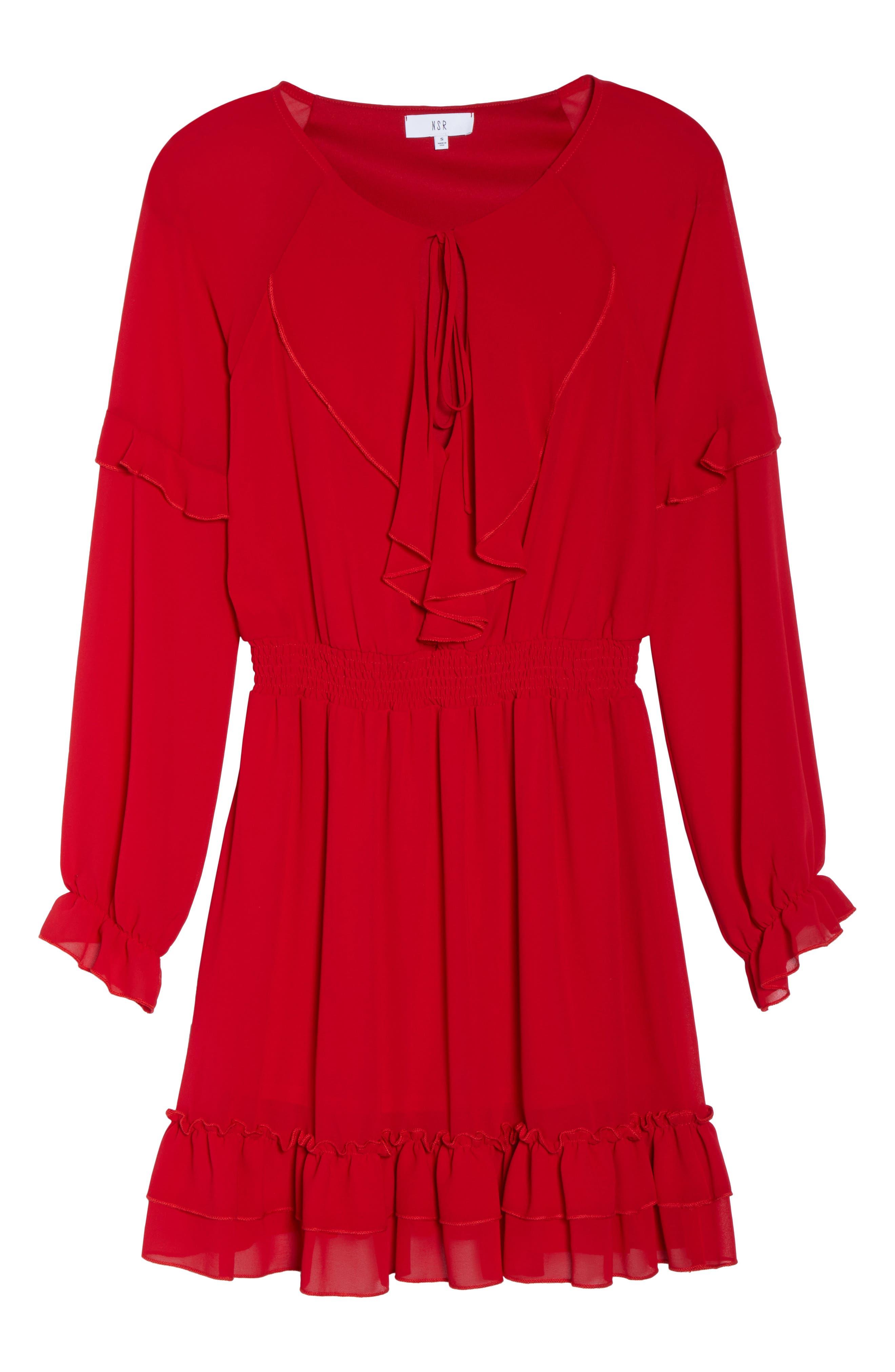 Julia Chiffon Skater Dress,                             Alternate thumbnail 6, color,                             Red
