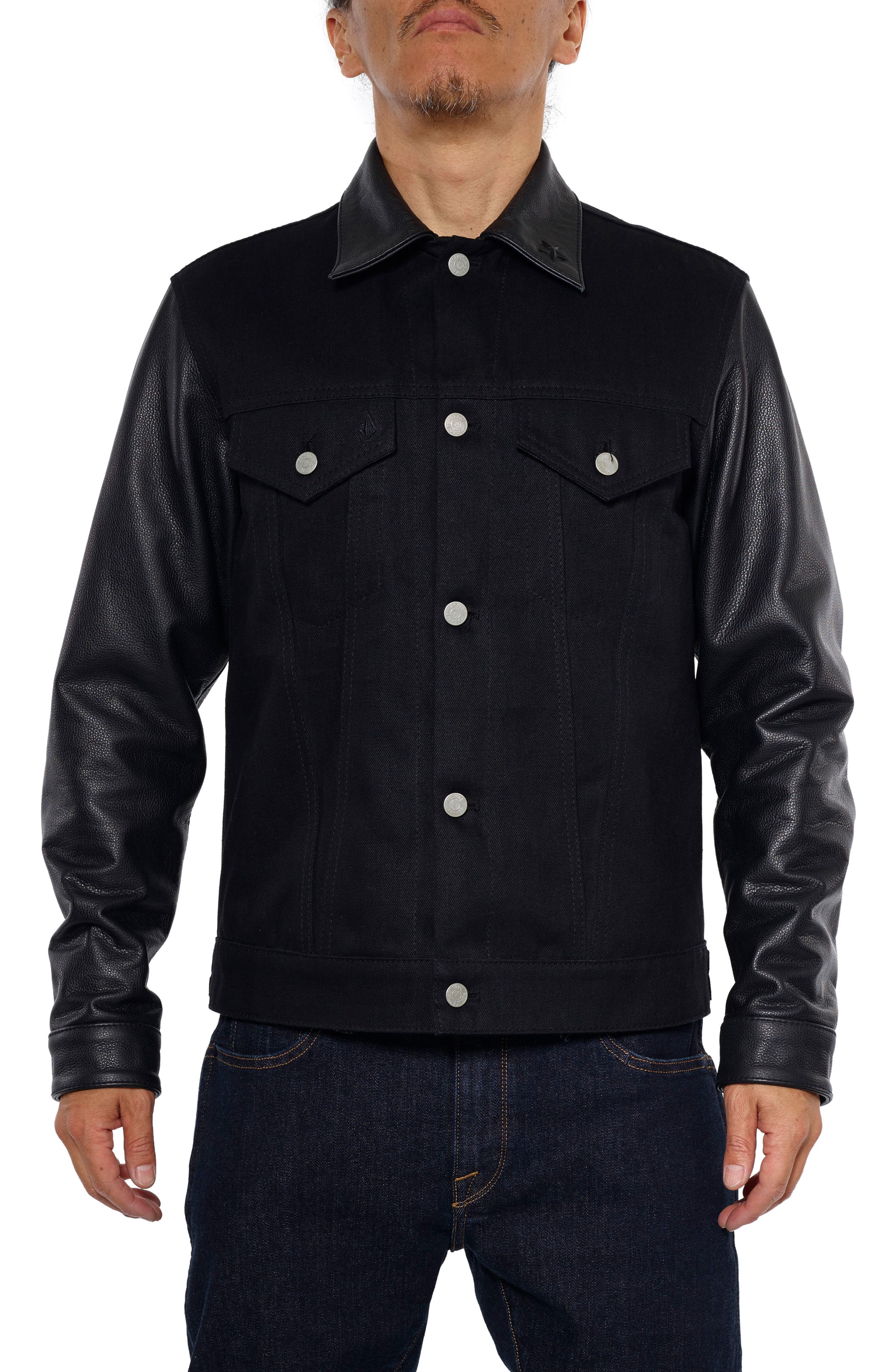 x Schott Denim Jacket,                         Main,                         color, Black