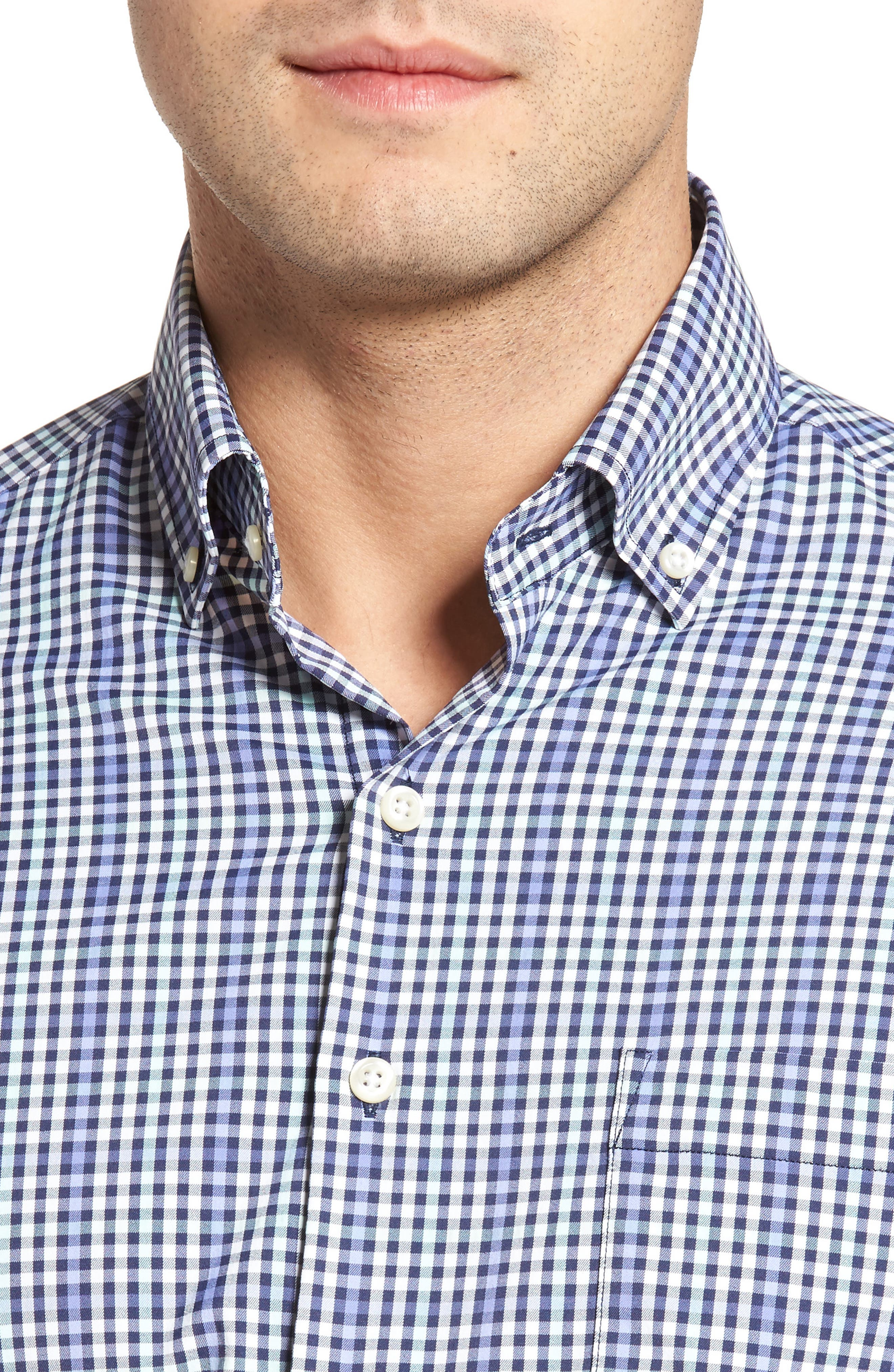 Classic Fit Collier Plaid Performance Sport Shirt,                             Alternate thumbnail 4, color,                             Thunderbird