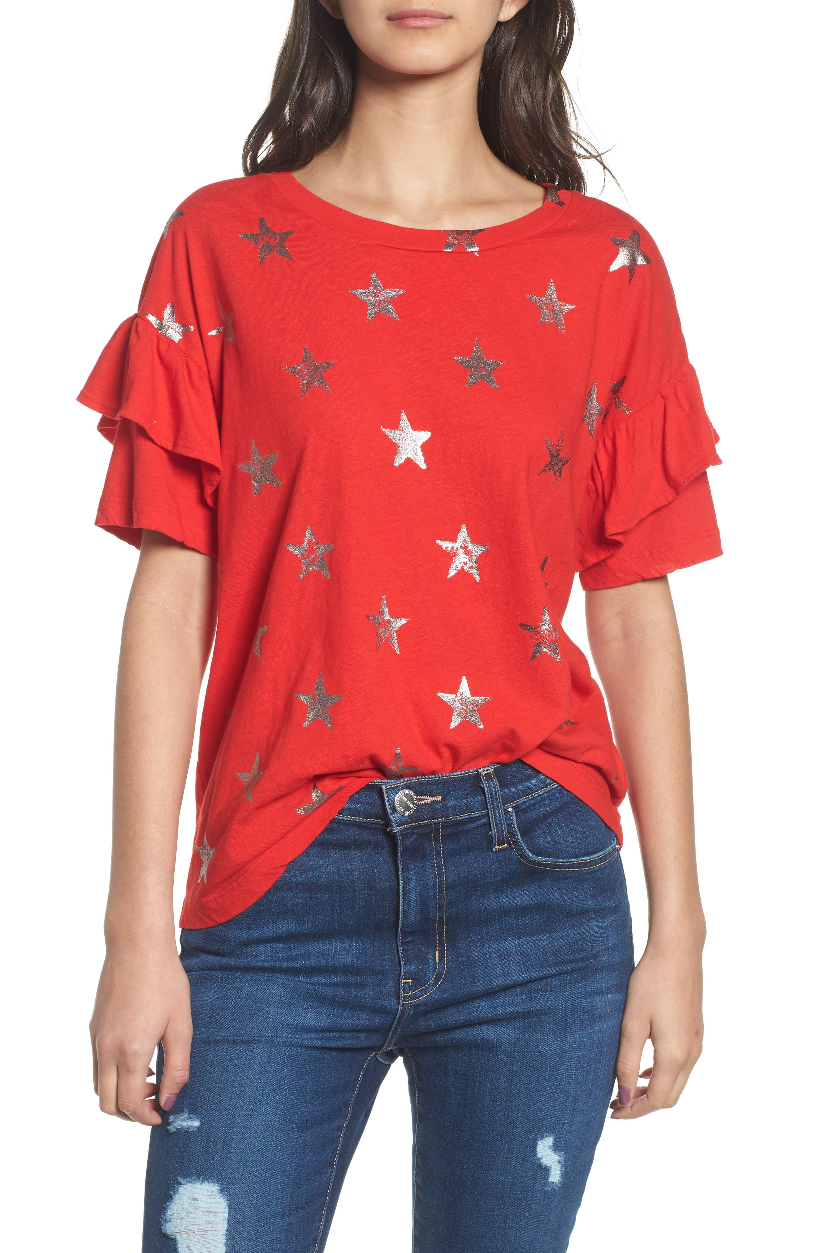 The Ruffle Roadie Tee,                         Main,                         color, Red Foil Star