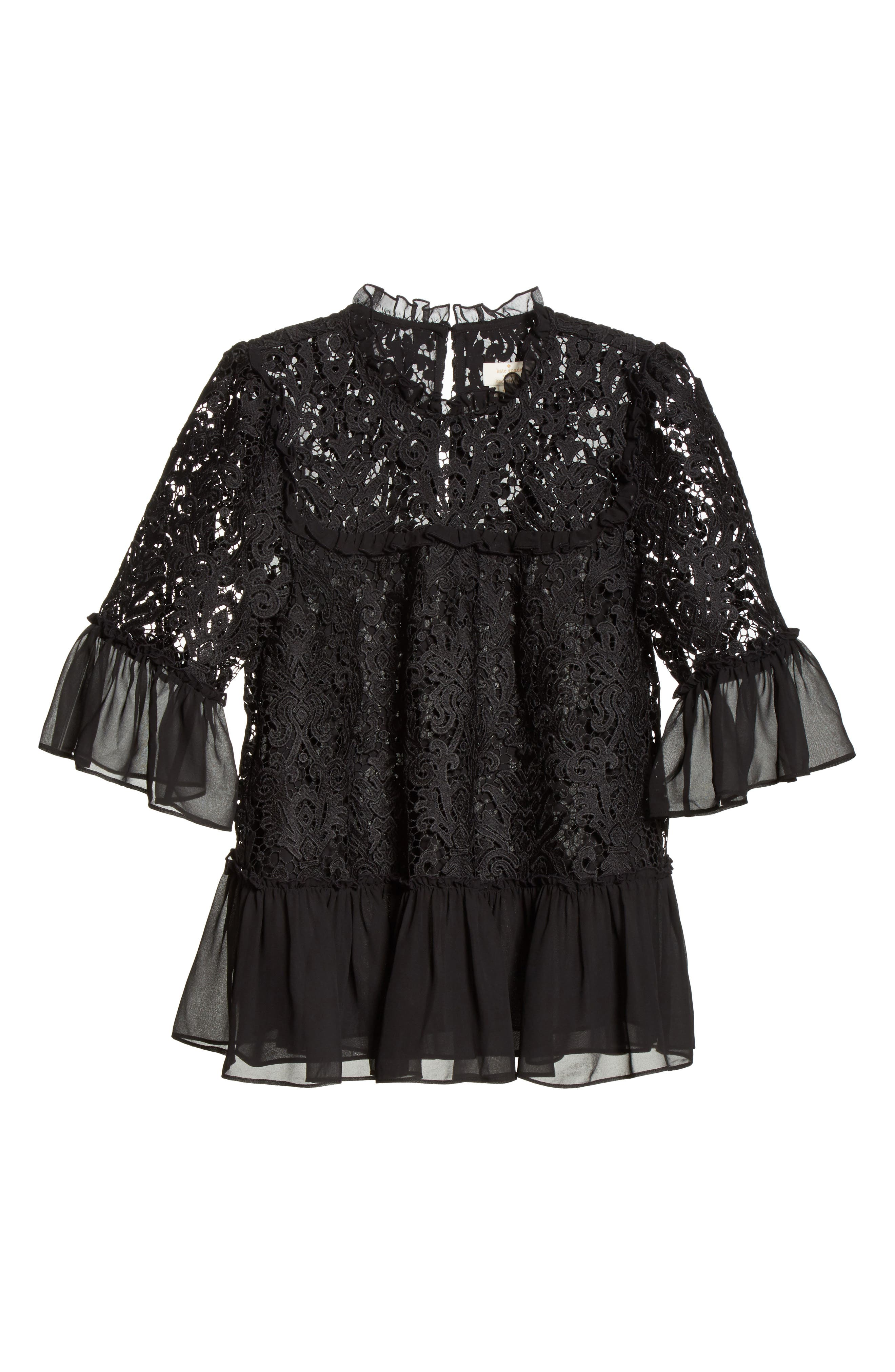 kate spade tapestry lace top,                             Alternate thumbnail 6, color,                             Black