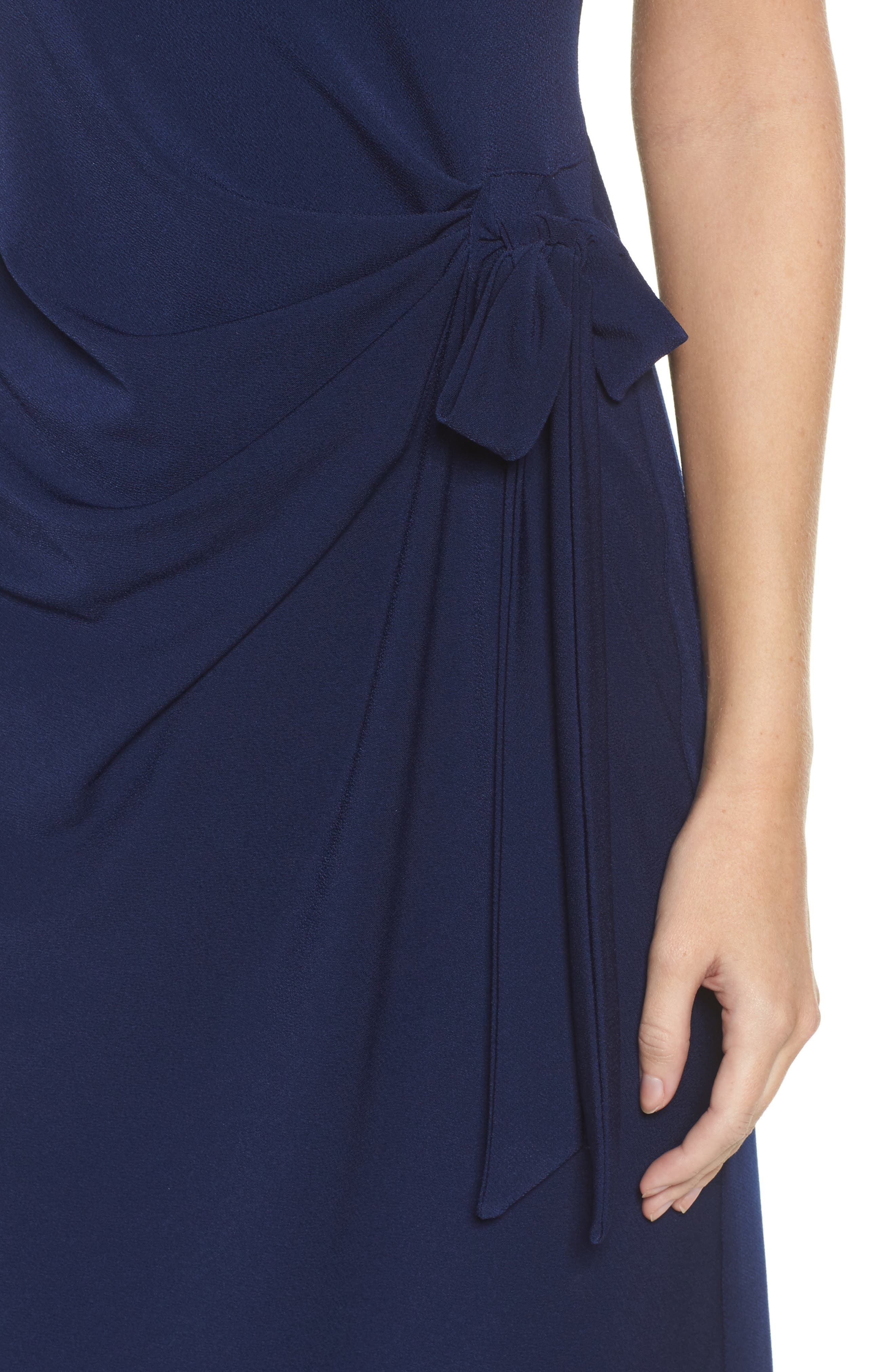 Madison Stretch Sheath Dress,                             Alternate thumbnail 4, color,                             Classic Navy