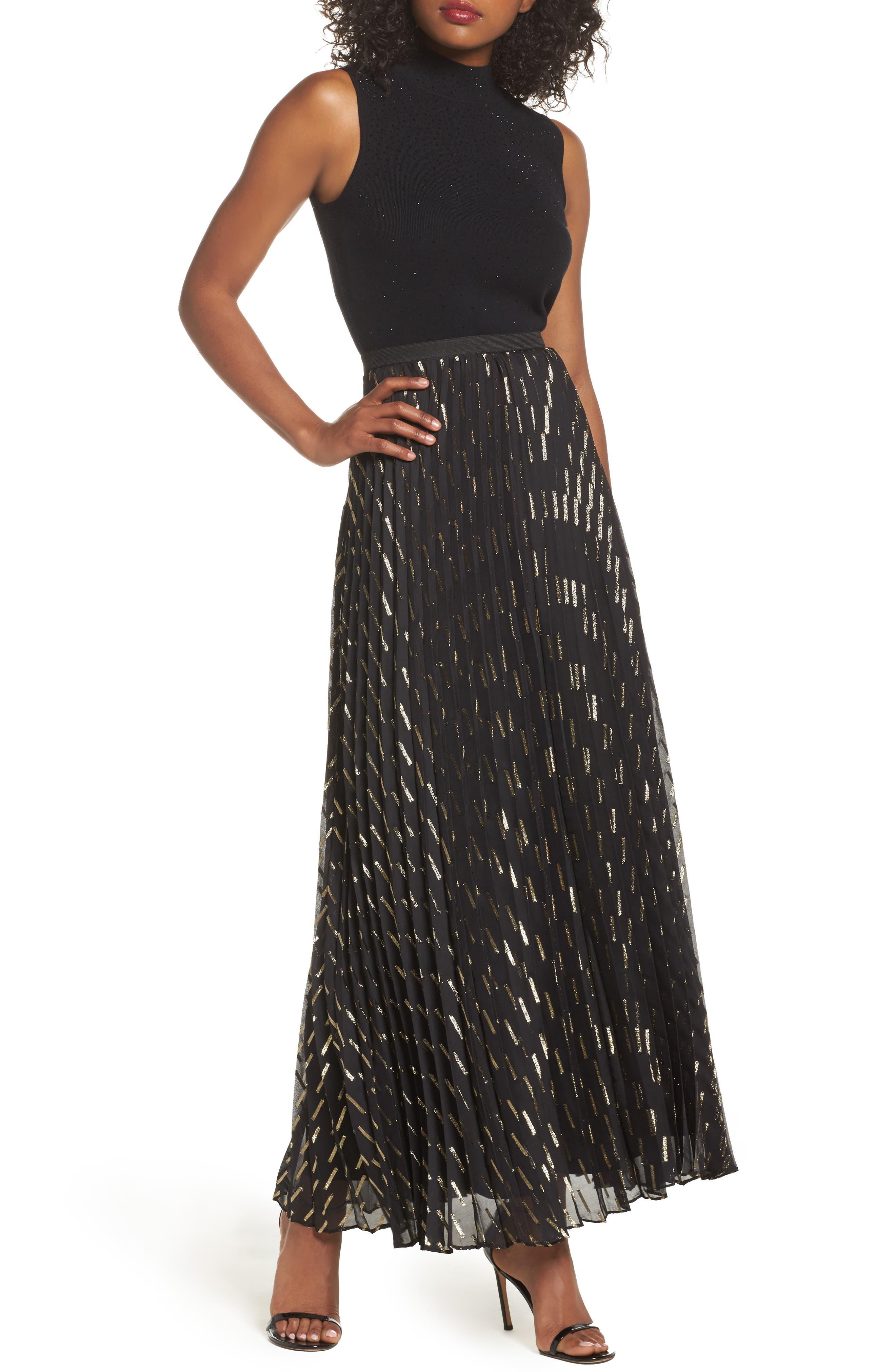 Metallic Detail Pleated Chiffon Maxi Skirt,                             Alternate thumbnail 2, color,                             Black Gold