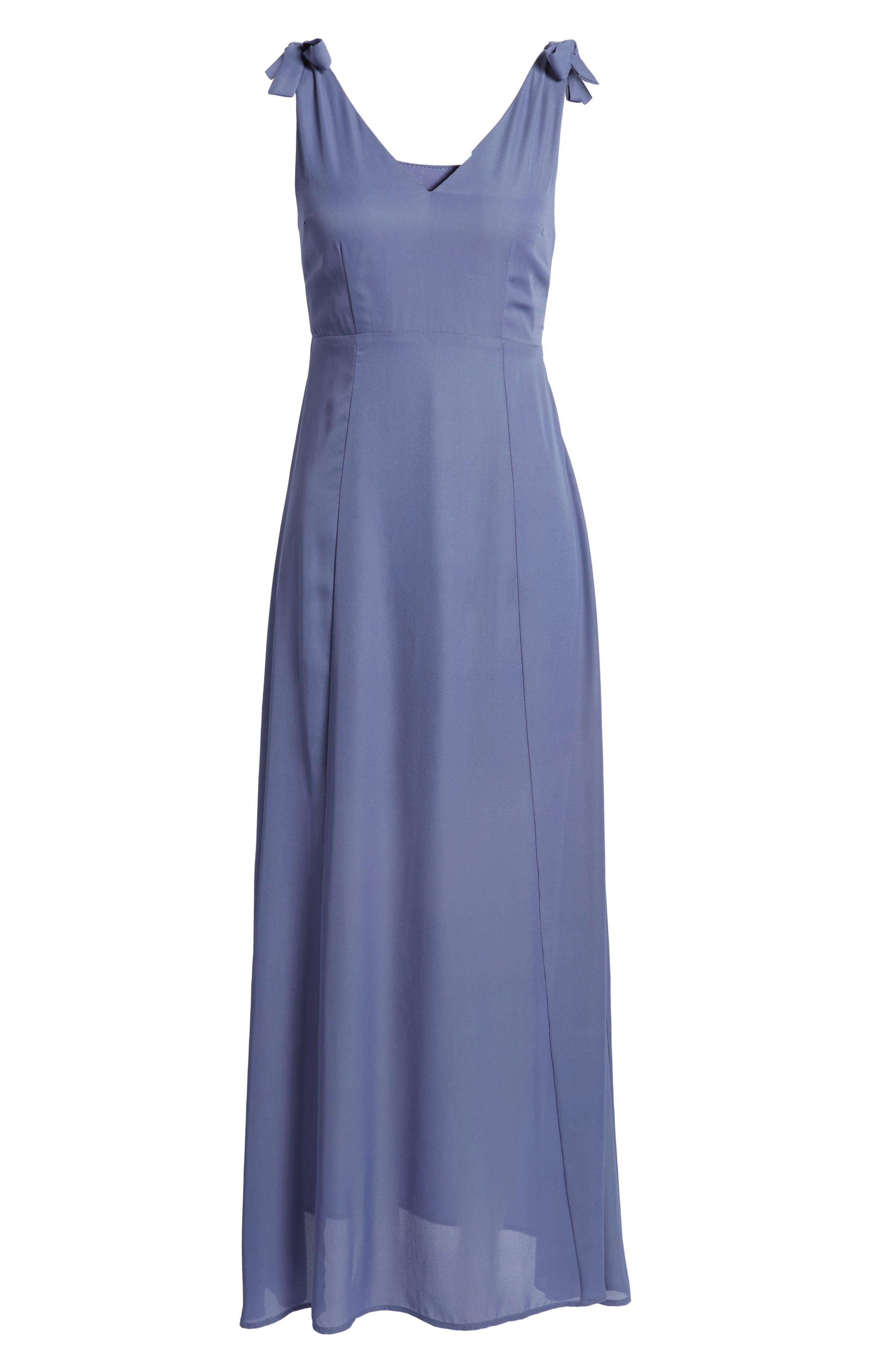 Tie Strap Maxi Dress,                             Alternate thumbnail 6, color,                             Slate