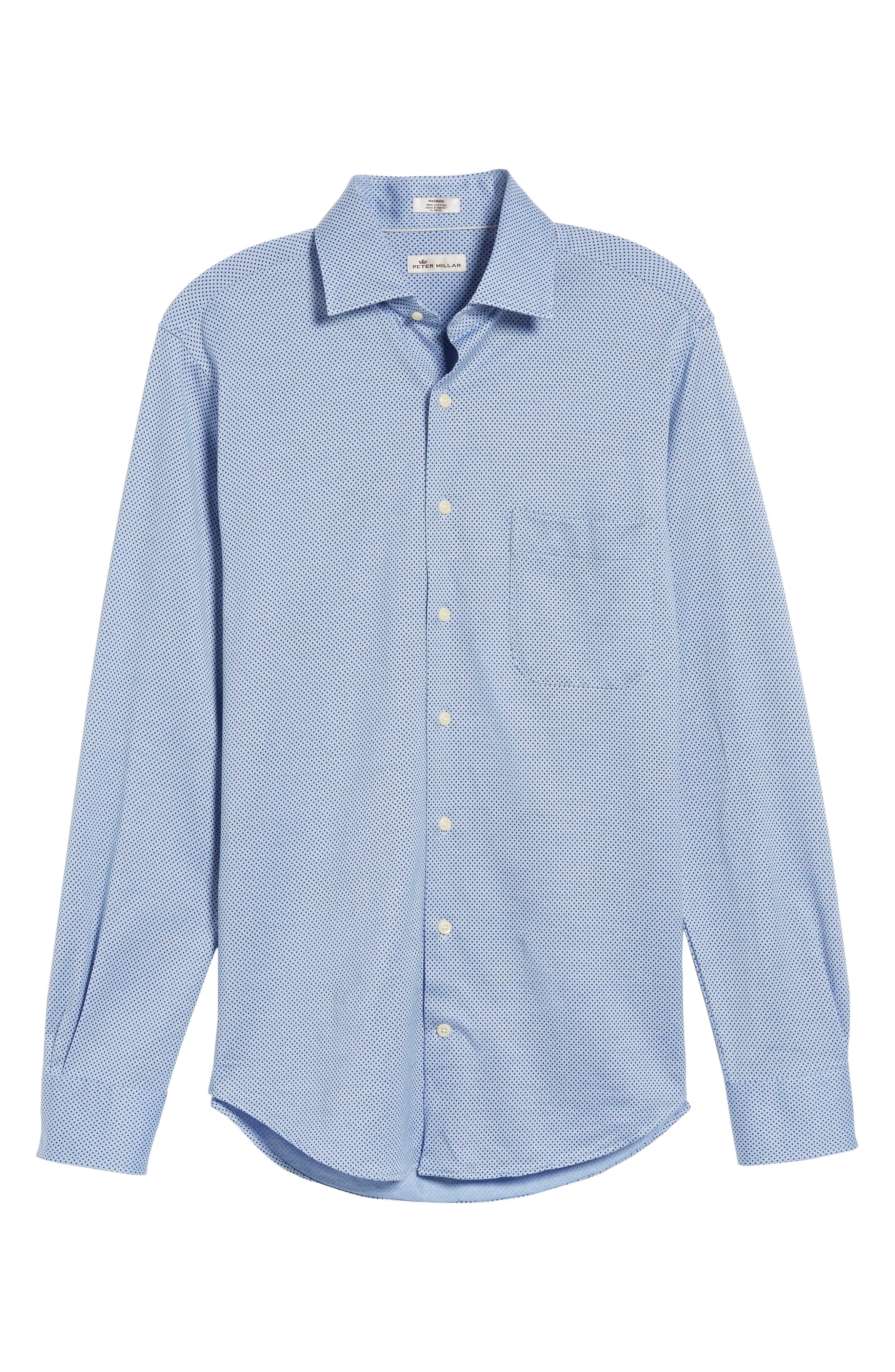 Mesh Dot Classic Fit Sport Shirt,                             Alternate thumbnail 6, color,                             Tar Heel Blue