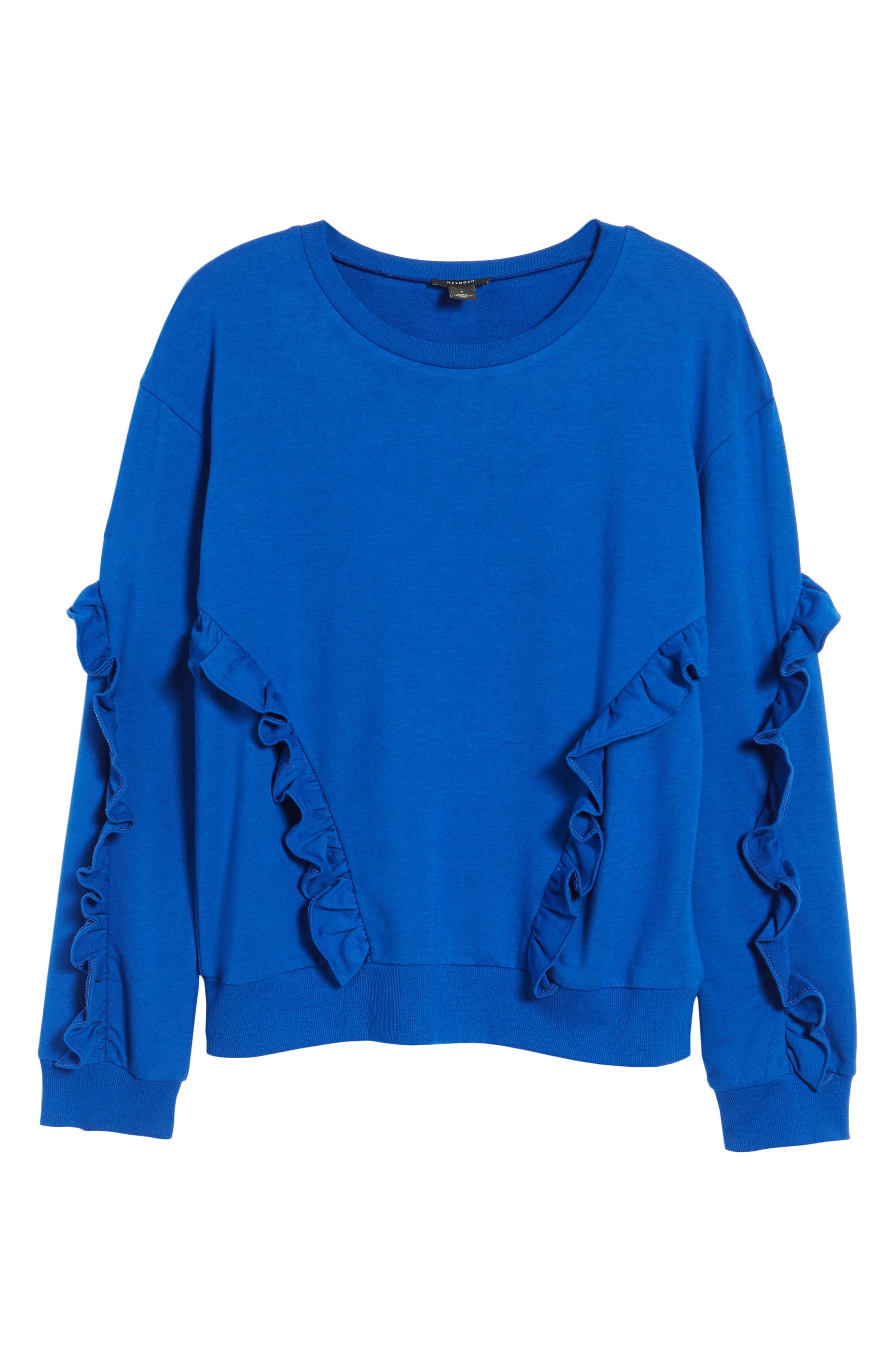 Ruffle Detail Sweatshirt,                             Alternate thumbnail 6, color,                             Blue Surf