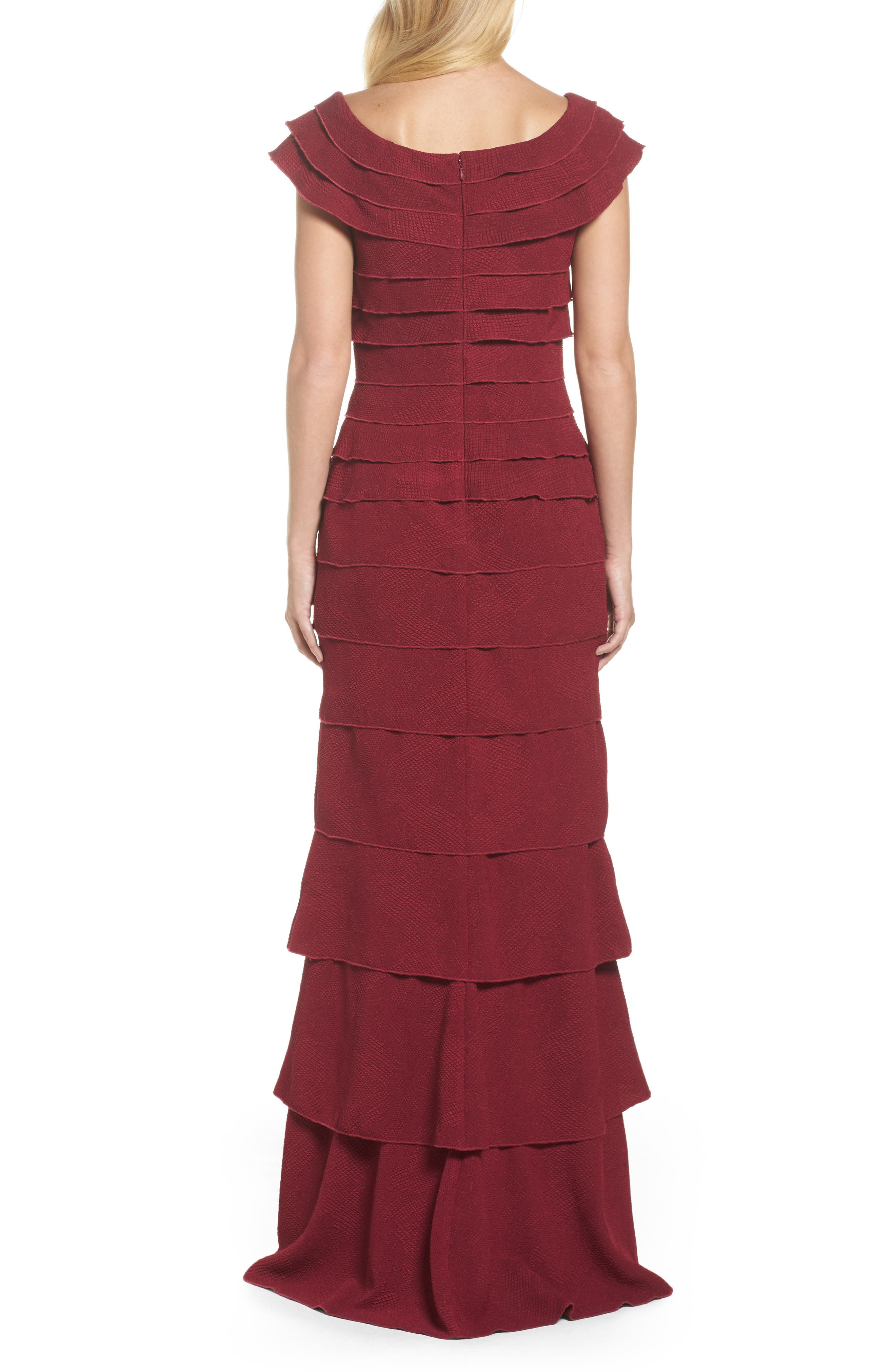 Tiered Crepe Gown,                             Alternate thumbnail 2, color,                             Wine