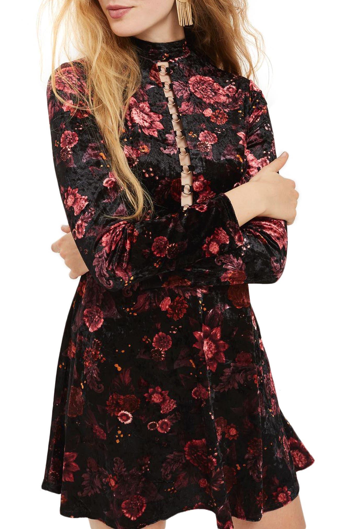 Ring Lace Up Floral Velvet Skater Dress,                         Main,                         color, Black Multi