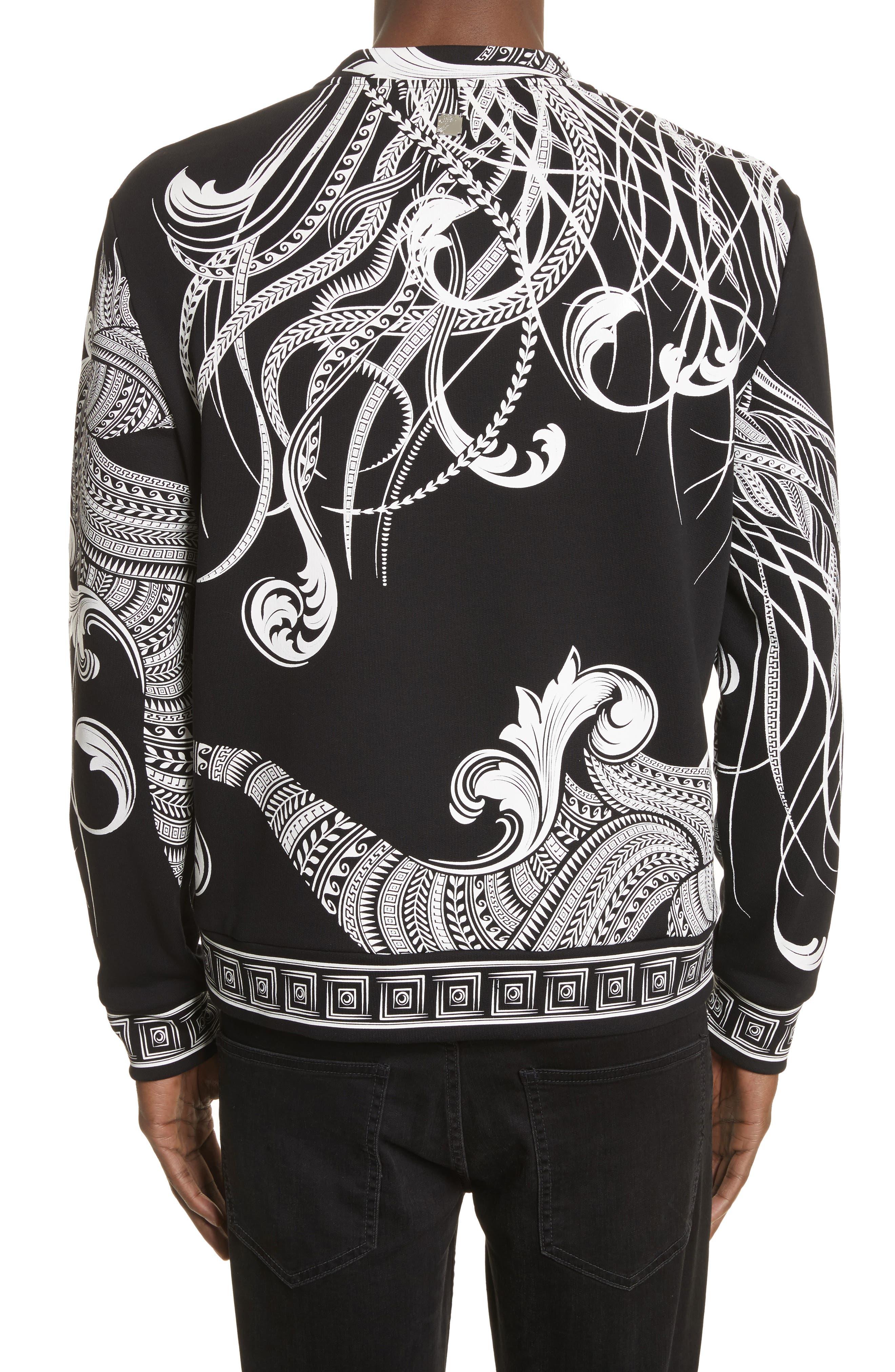 Print Crewneck Sweatshirt,                             Alternate thumbnail 2, color,                             Black