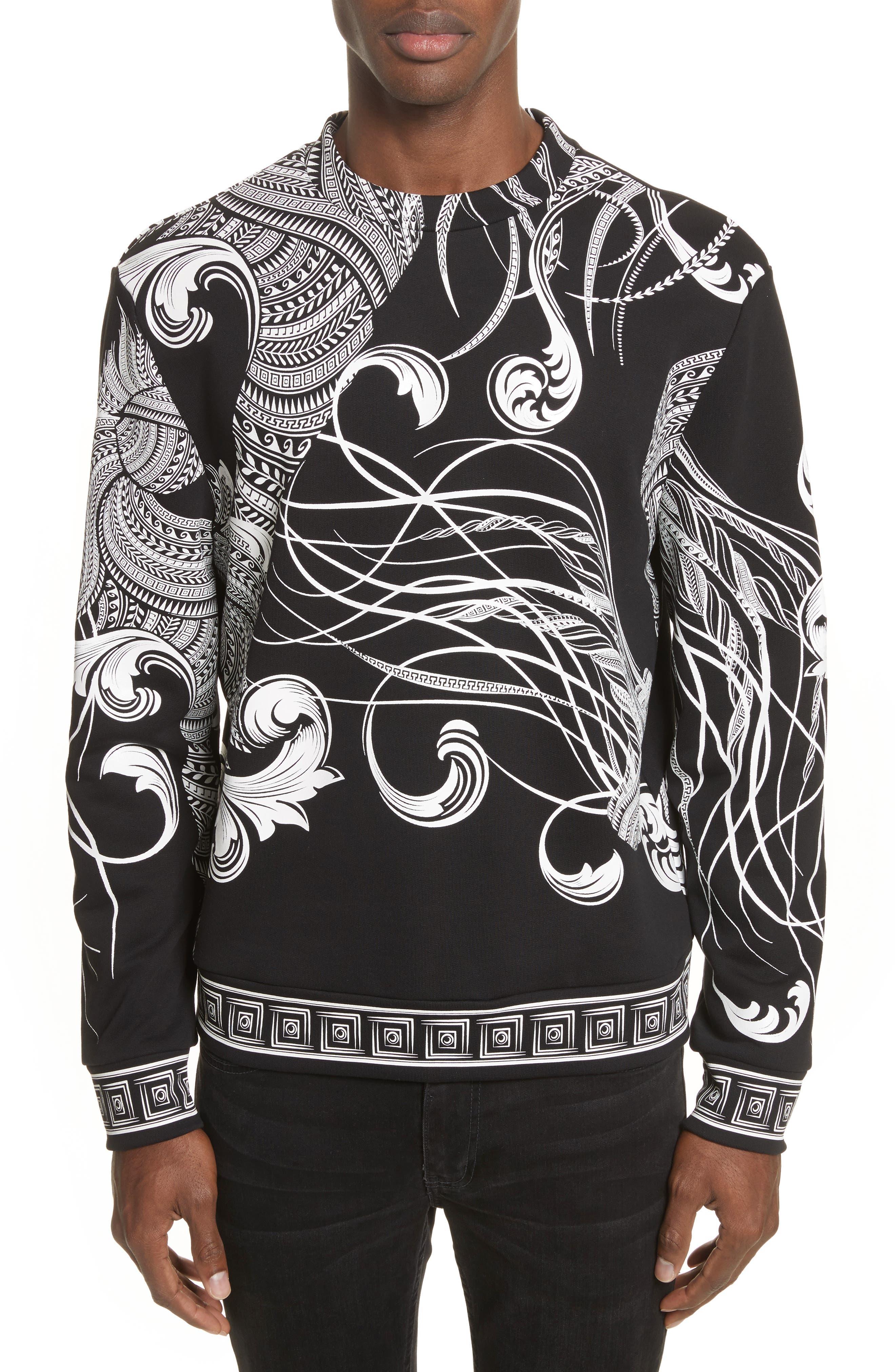 Print Crewneck Sweatshirt,                         Main,                         color, Black