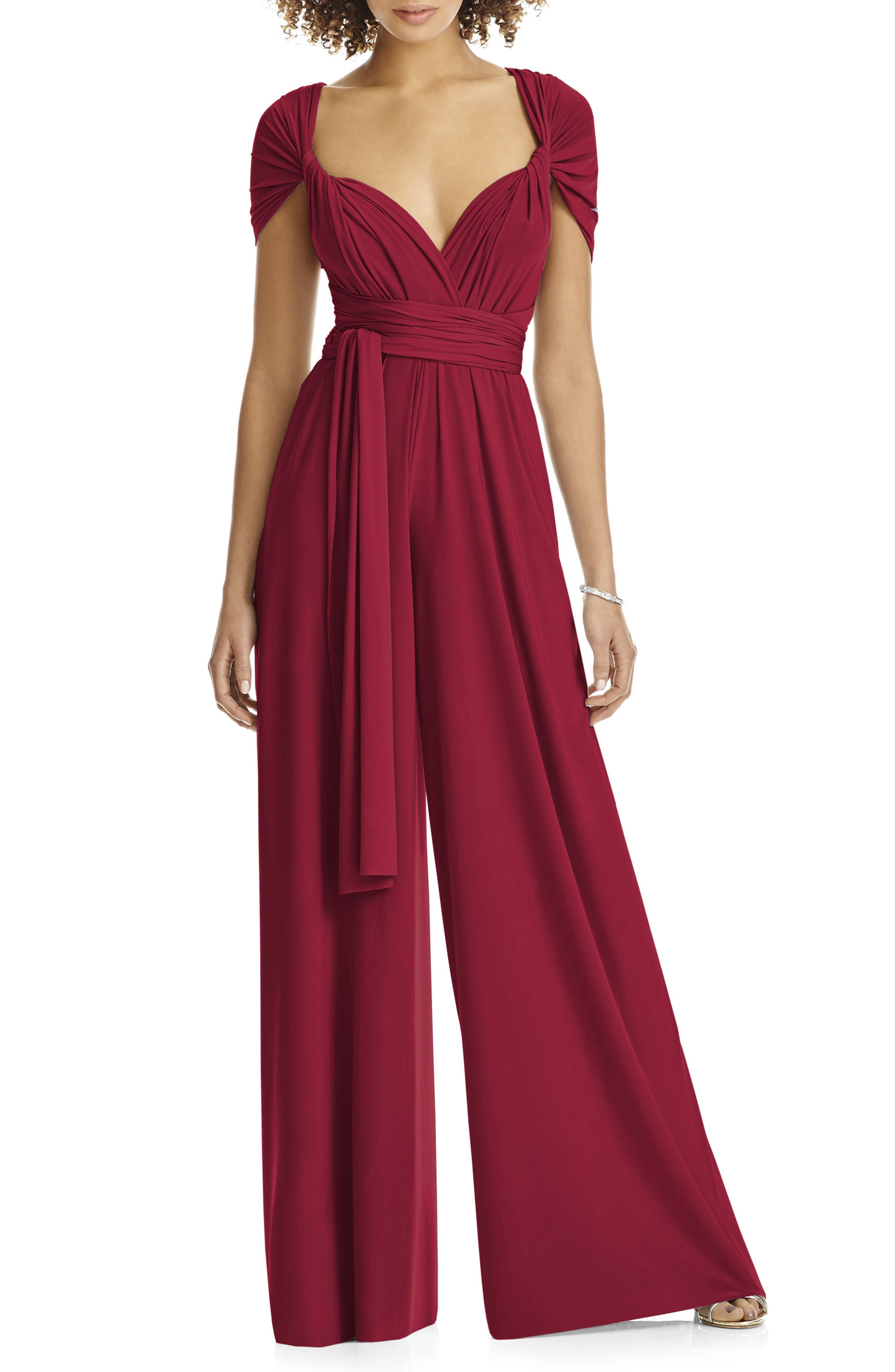 Alternate Image 1 Selected - Dessy Collection Convertible Wide Leg Jersey Jumpsuit (Regular & Plus)