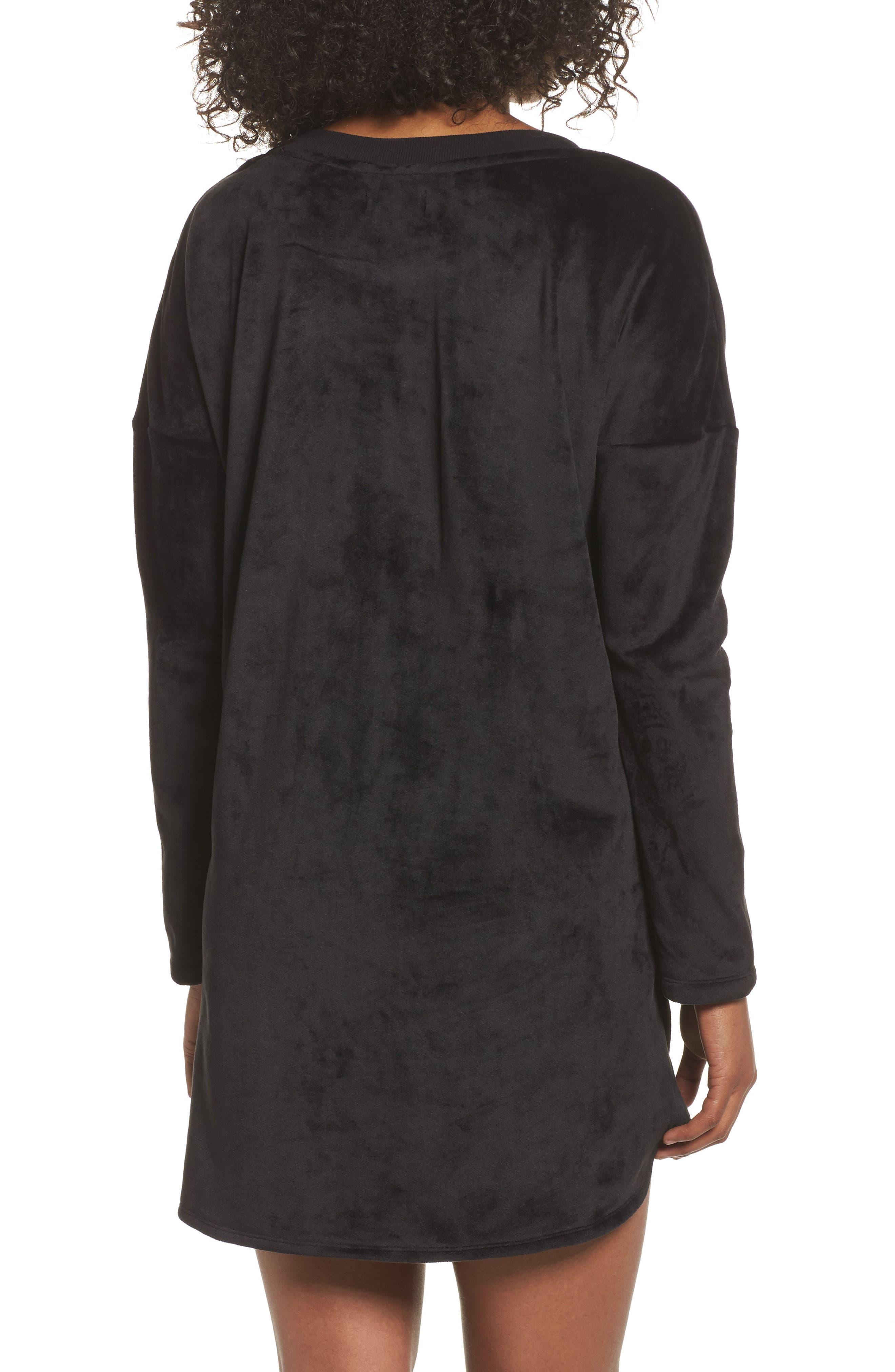 Luxury Plush Sleep Shirt,                             Alternate thumbnail 2, color,                             Black