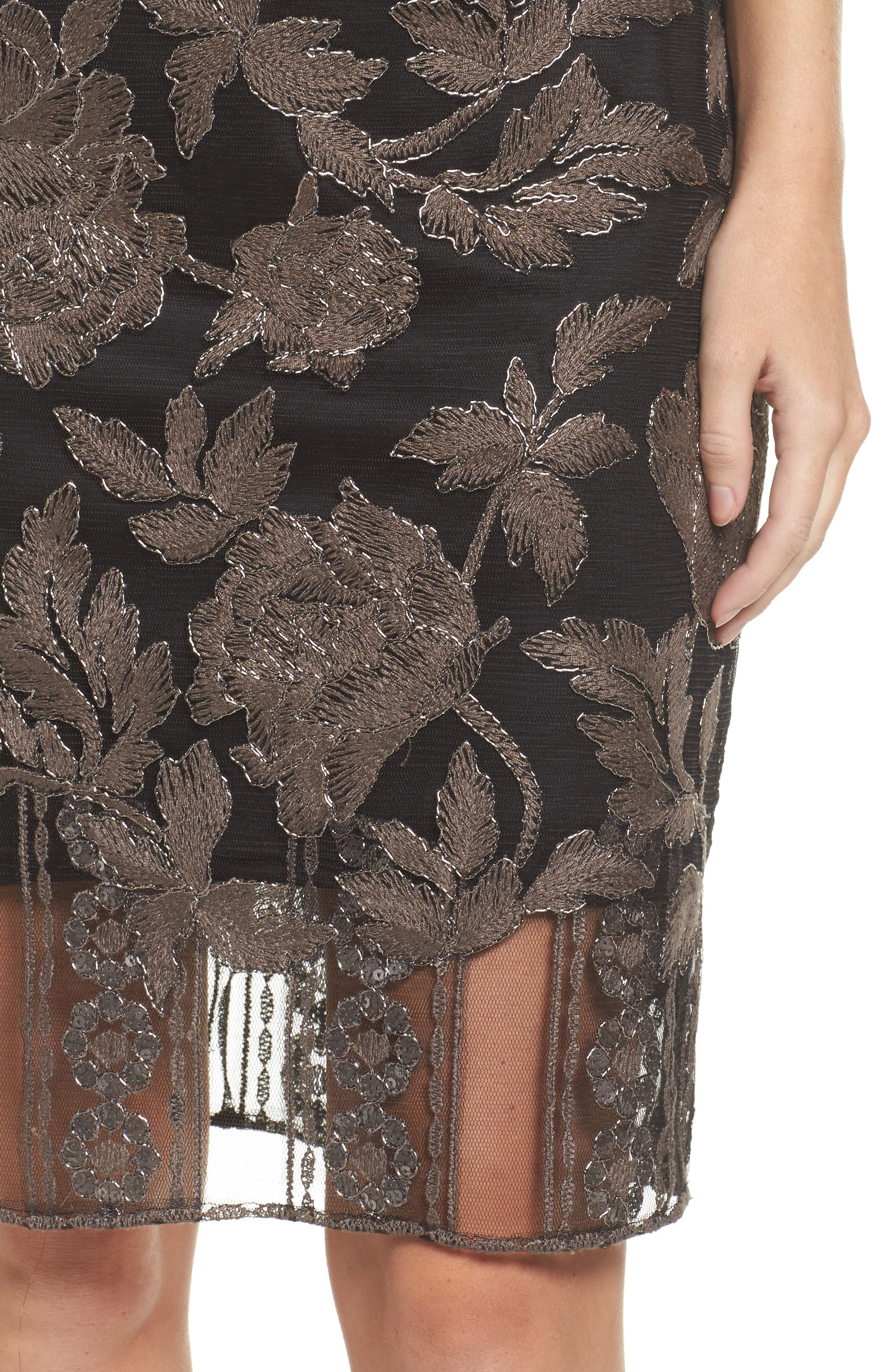 Embroidered Lace Sheath Dress,                             Alternate thumbnail 4, color,                             Dark Pearl/ Black