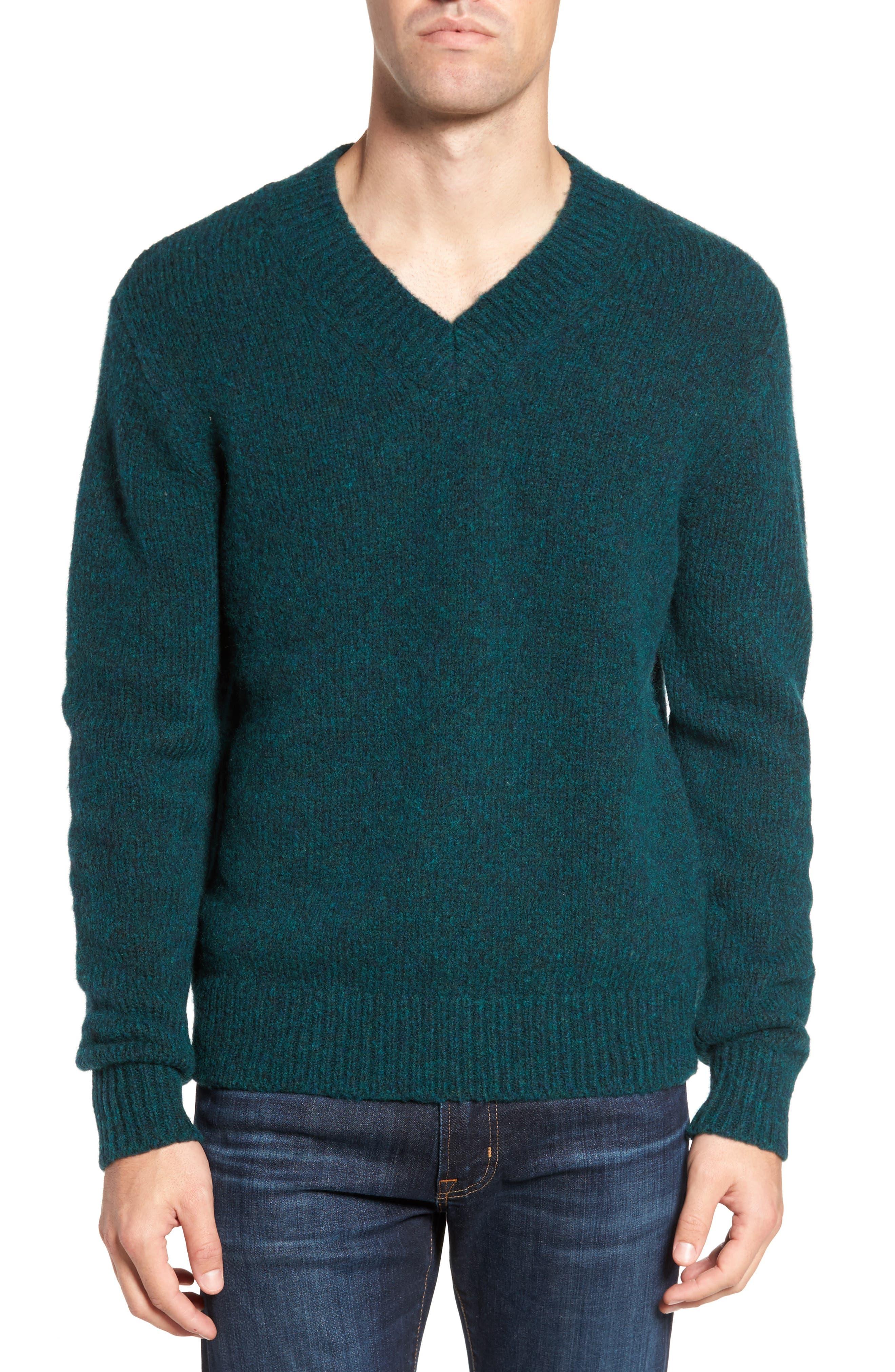 Fuzzy Deep V-Neck Wool Blend Sweater,                         Main,                         color, Deep Turq