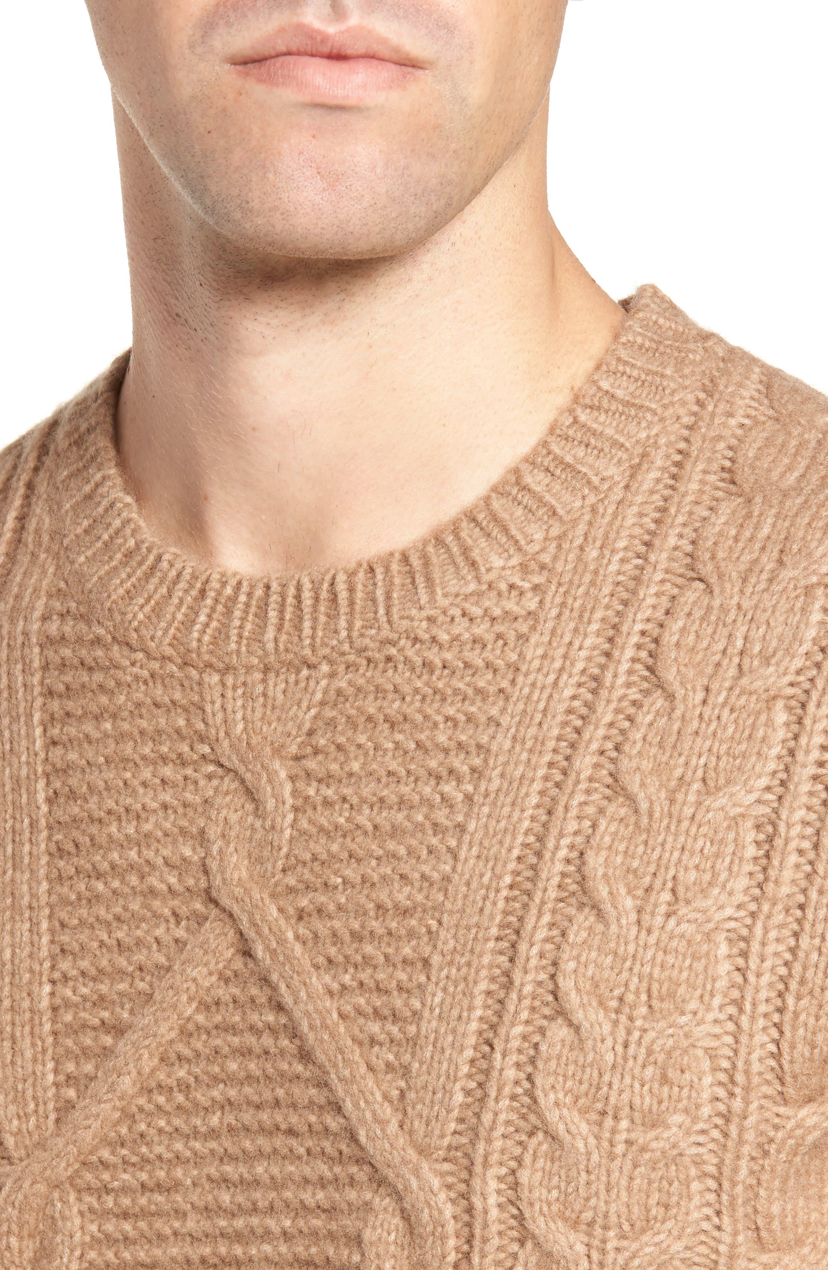 Cable Knit Crewneck Sweater,                             Alternate thumbnail 4, color,                             Camel