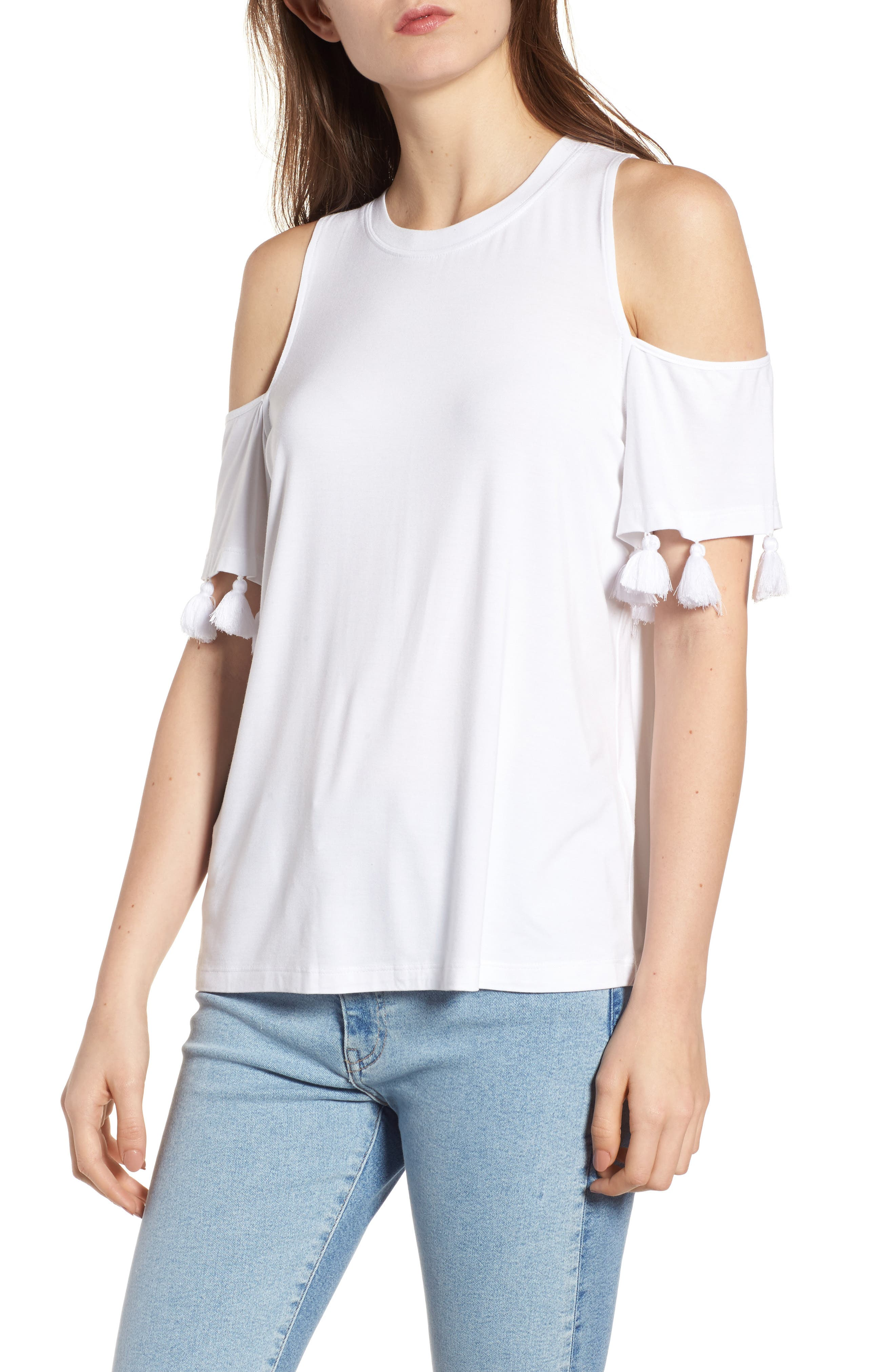 Theora Cold Shoulder Tee,                             Main thumbnail 1, color,                             White