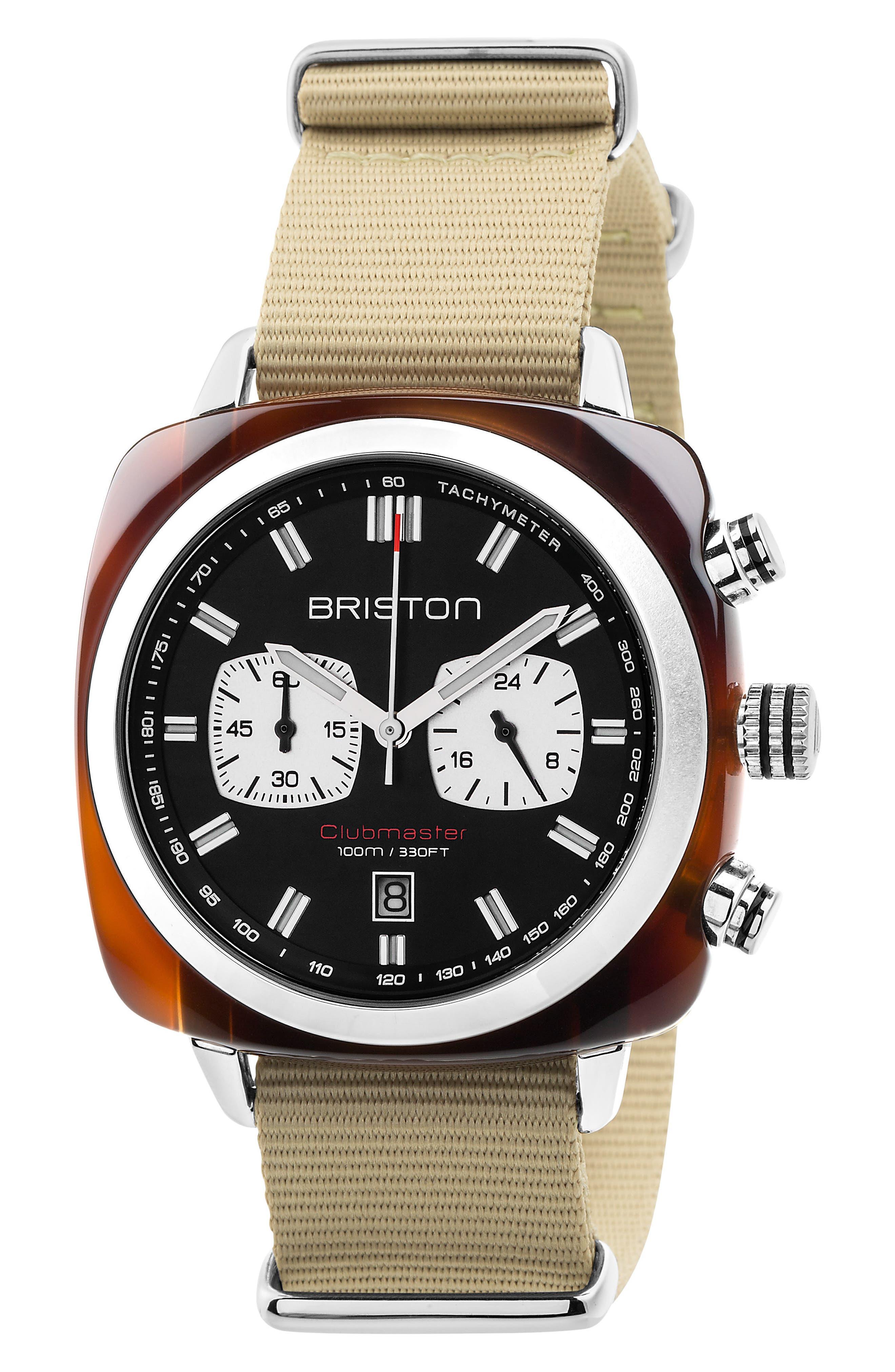 Briston Watches Clubmaster Sport Chronograph Nylon Strap Watch, 42mm
