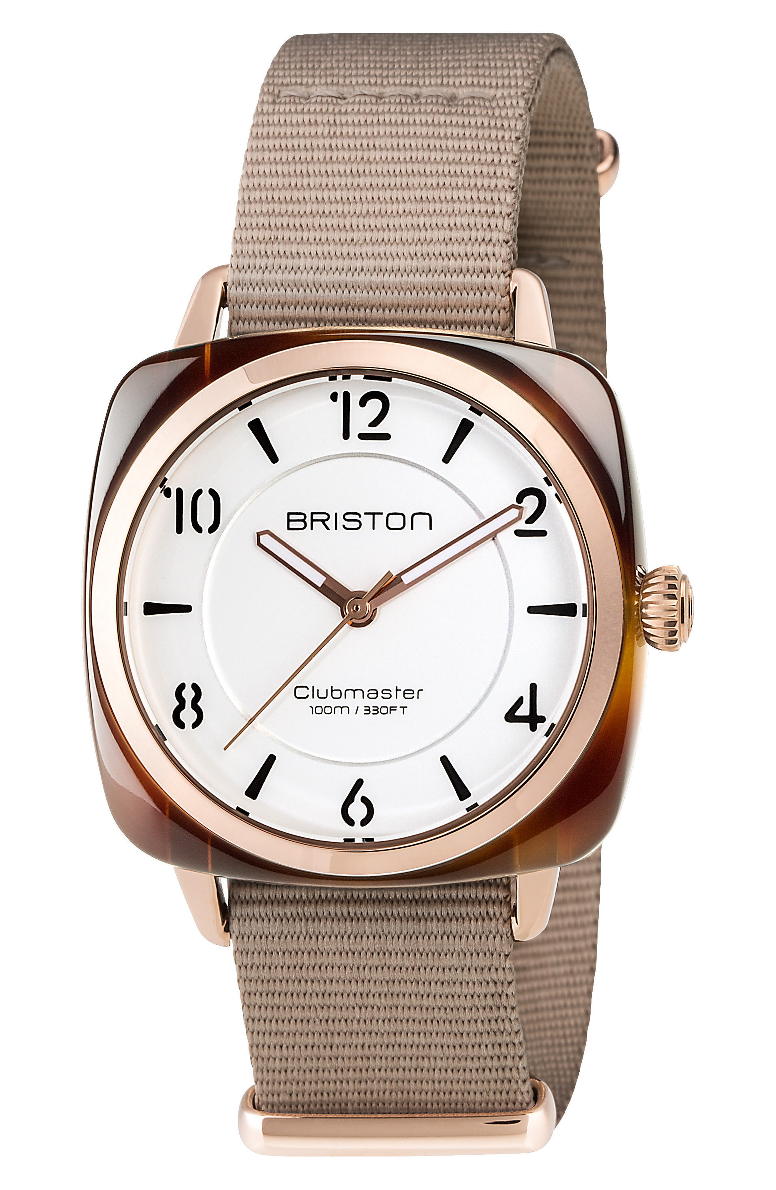 Clubmaster Chic Nylon Strap Watch, 36mm,                         Main,                         color, Taupe/ White/ Tort Acetate